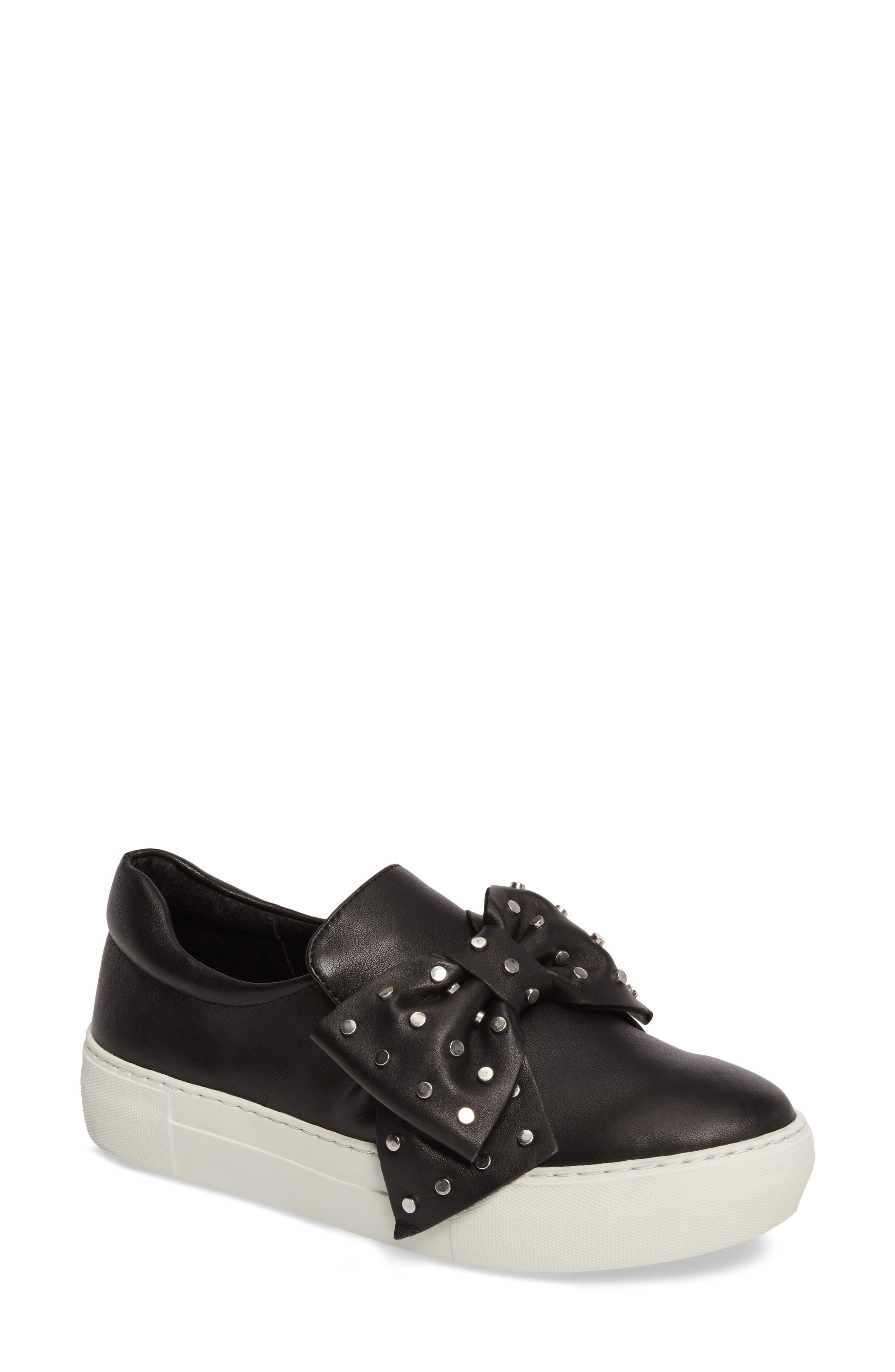 Alive Bow Slip-On,                             Main thumbnail 1, color,                             Black Leather