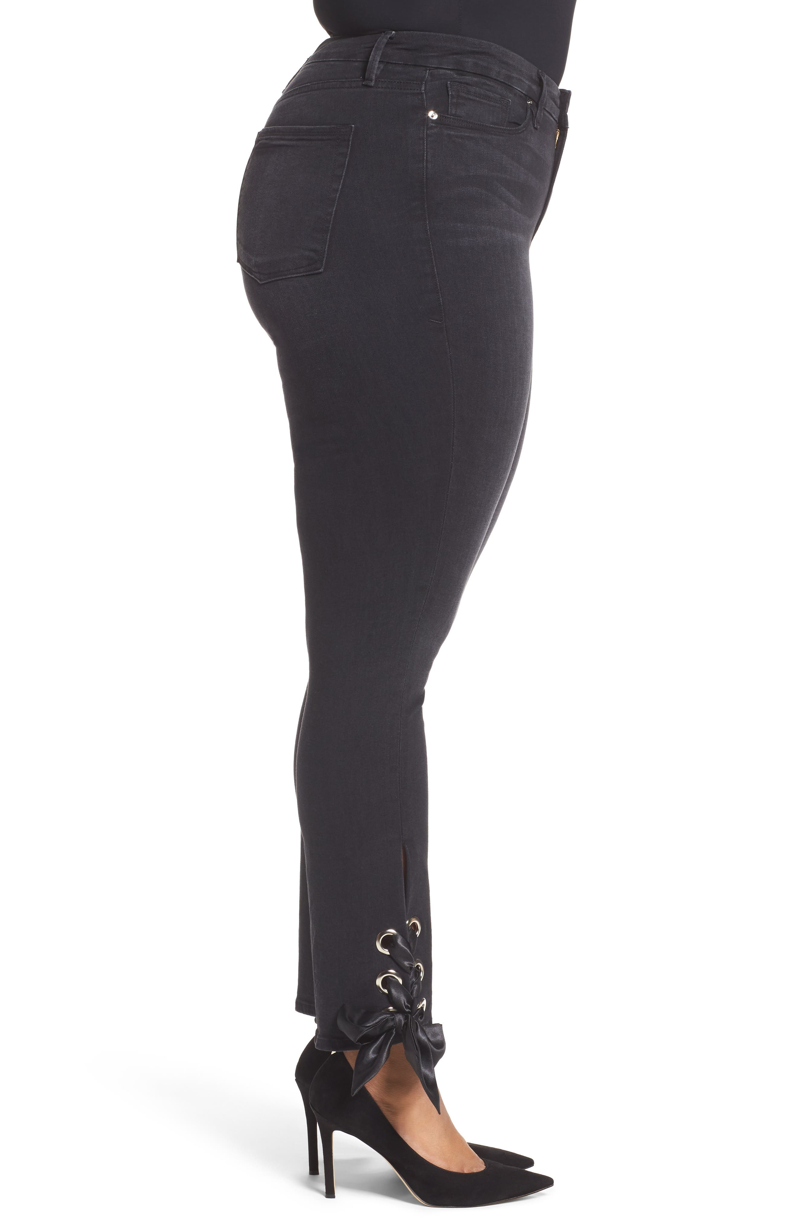 Alternate Image 8  - Good American Good Straight Ankle Lace Skinny Jeans (Black 010) (Extended Sizes)