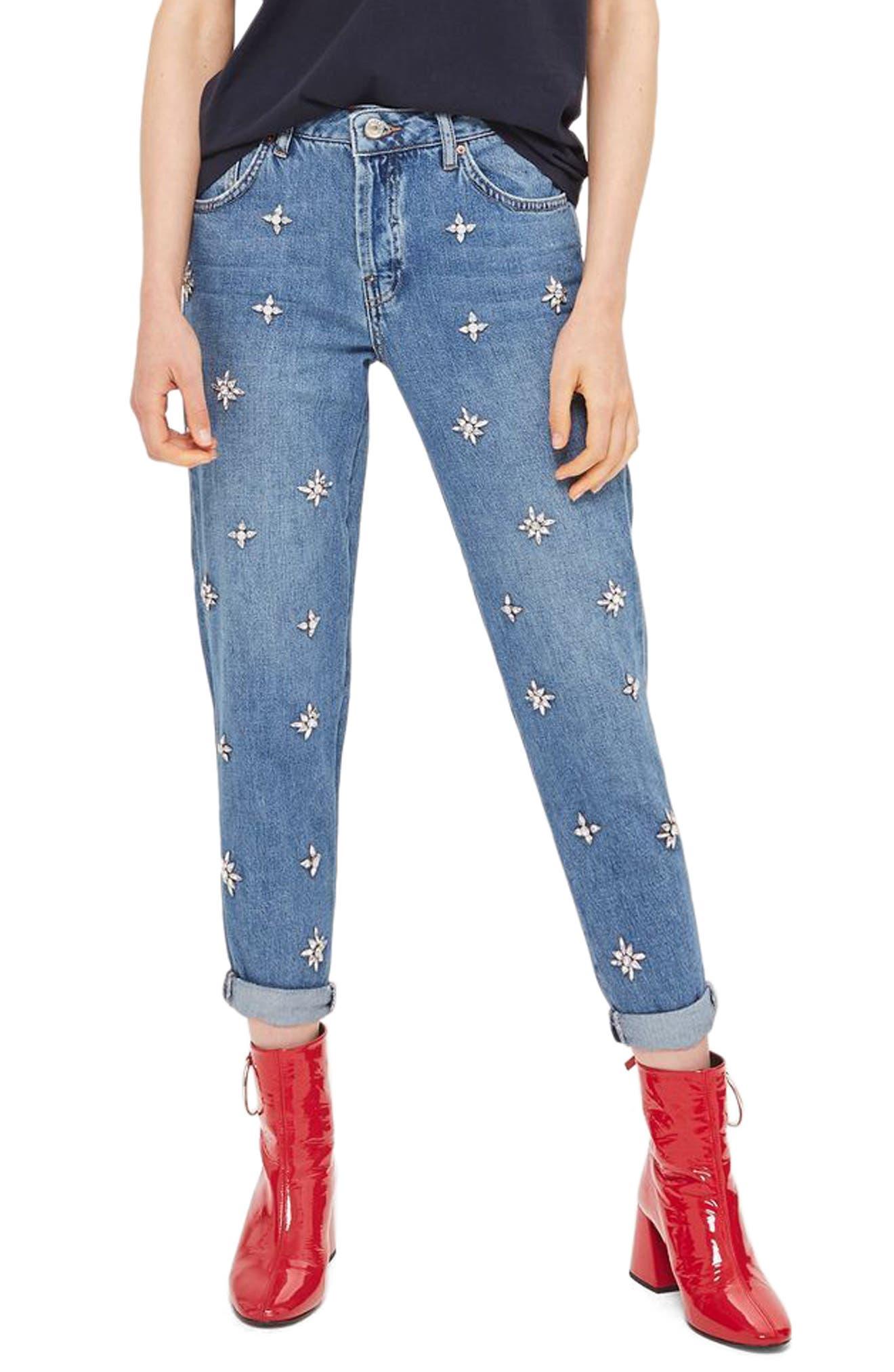 TOPSHOP Hayden Embellished Boyfriend Jeans