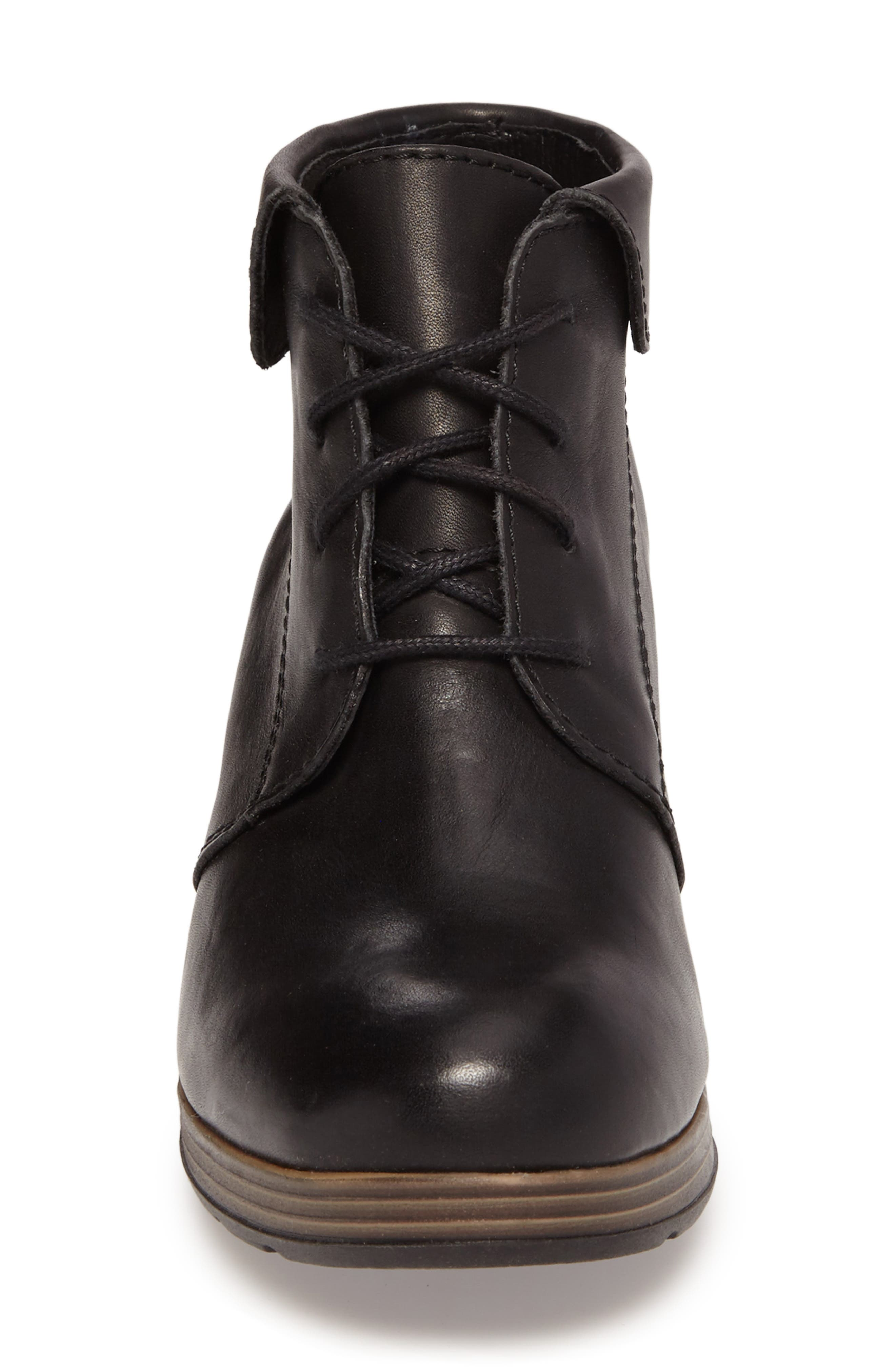 Jacquerie Lace-Up Bootie,                             Alternate thumbnail 4, color,                             Black Leather
