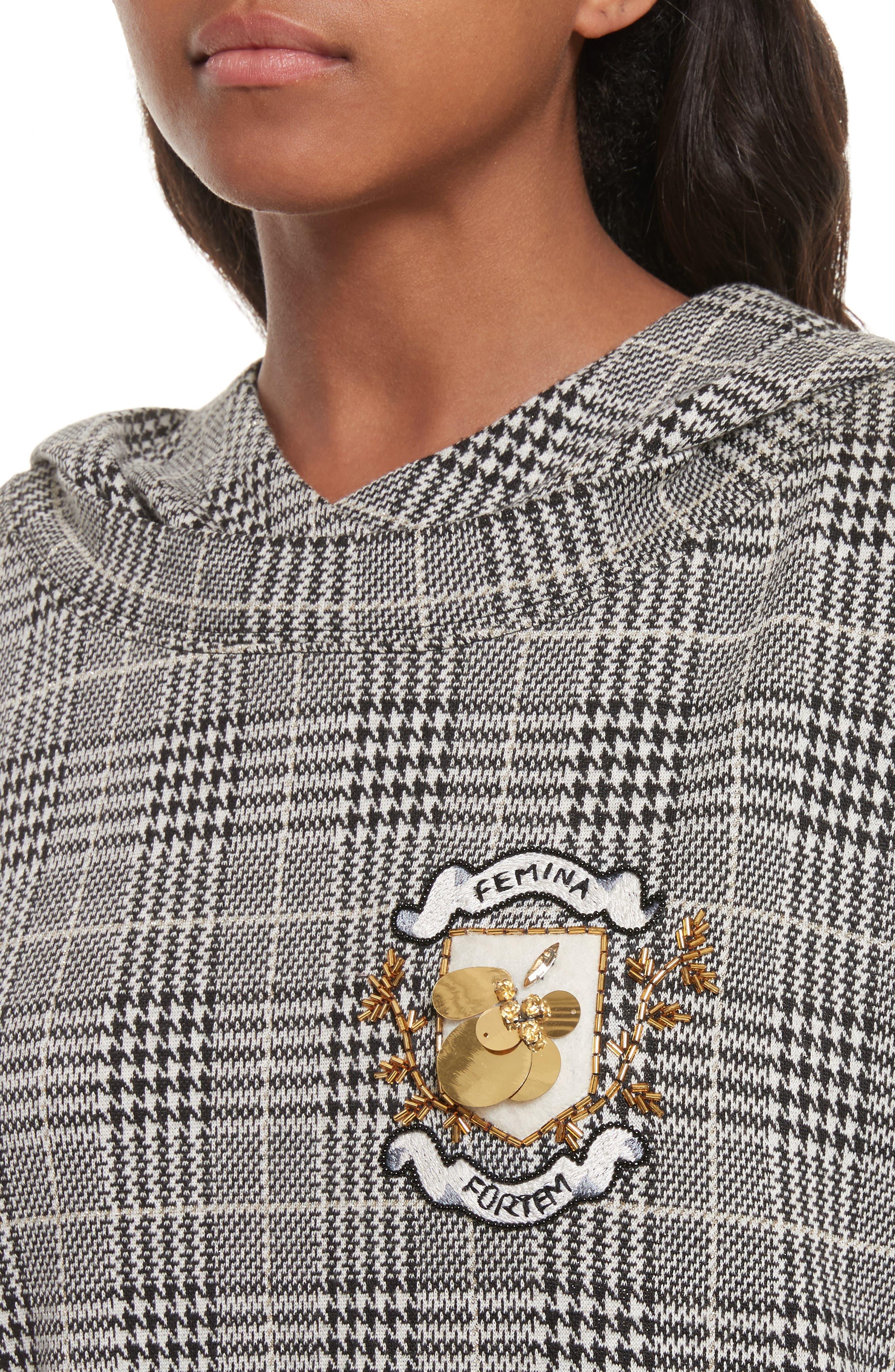 Alternate Image 4  - Tracy Reese Embellished Plaid Hoodie