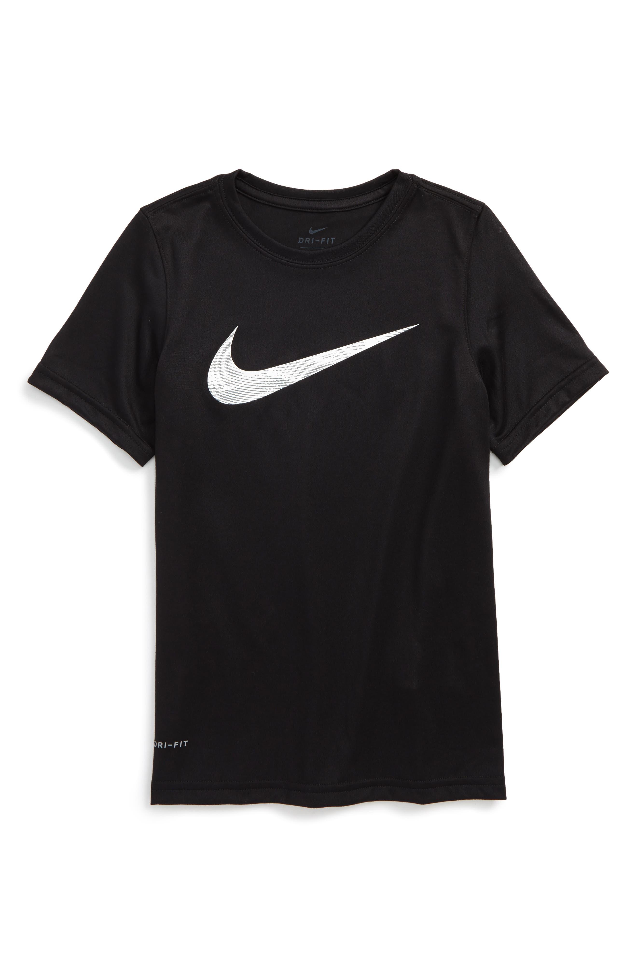 Dry Swoosh T-Shirt,                             Main thumbnail 1, color,                             Black/ White