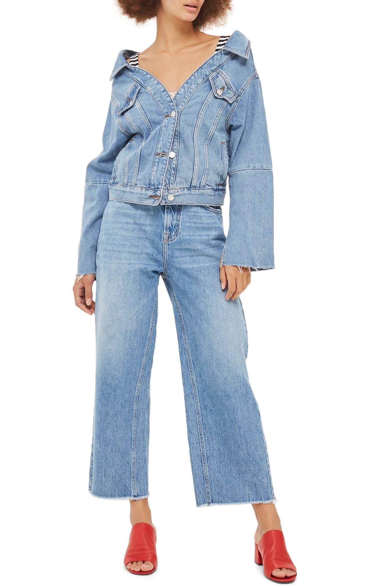 Off the Shoulder Denim Jacket,                         Main,                         color, Mid Denim