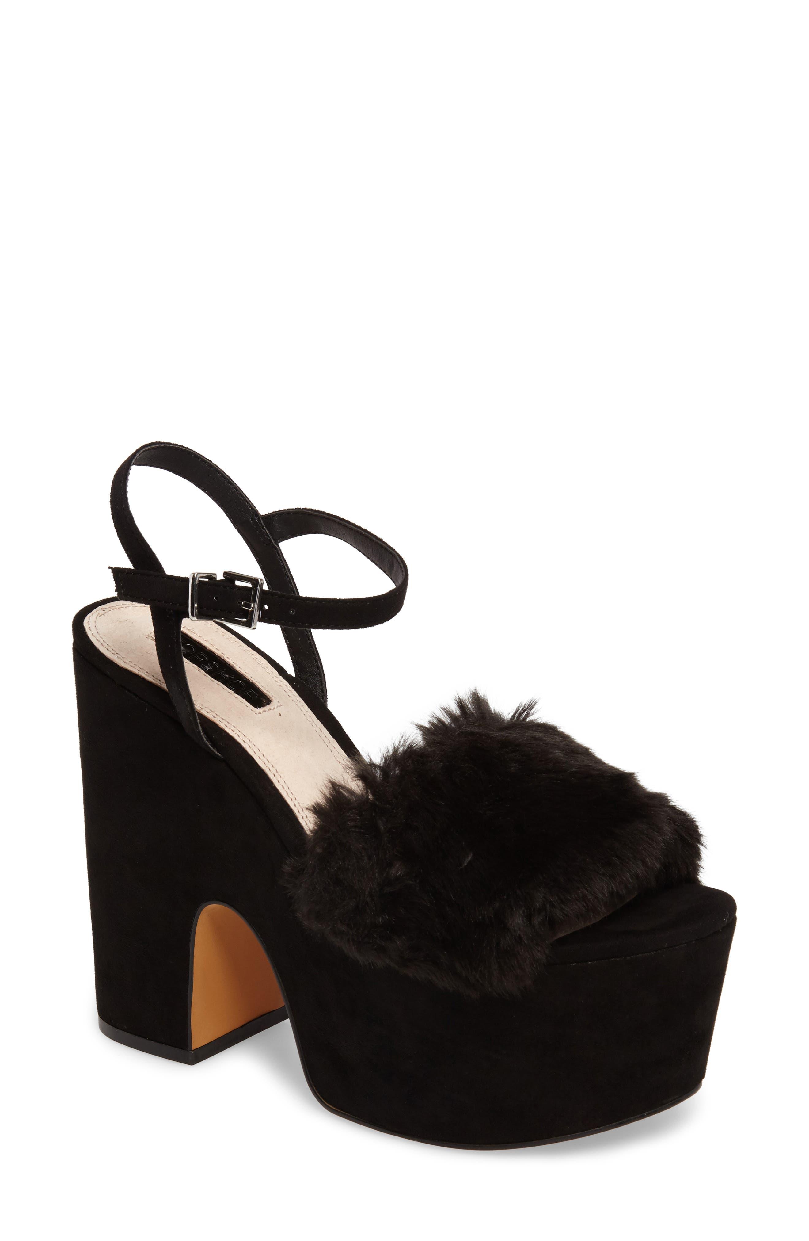 Topshop Lash Faux Fur Sandal (Women)