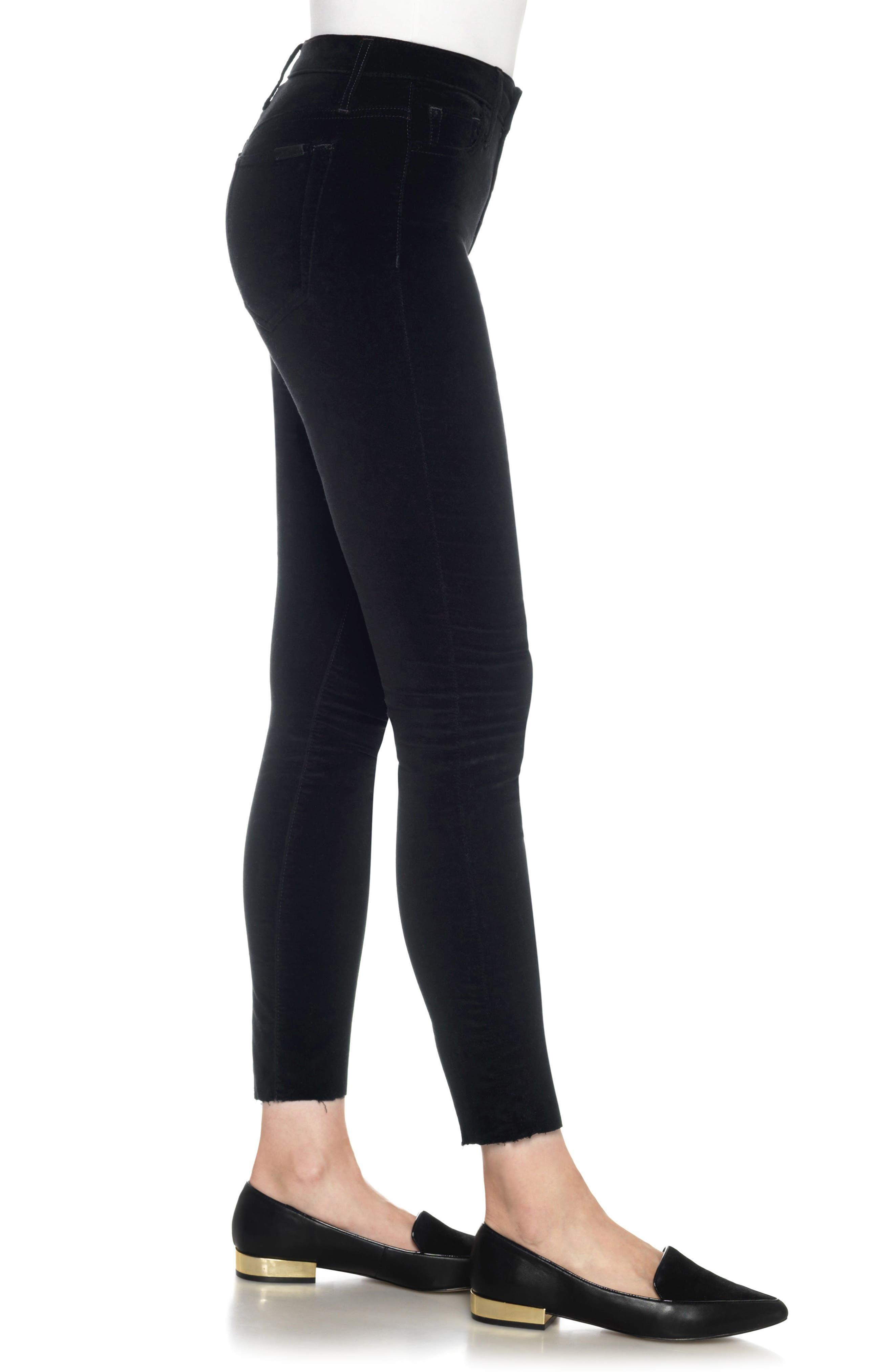 Icon Velvet Ankle Skinny Pants,                             Alternate thumbnail 3, color,                             Black Cat