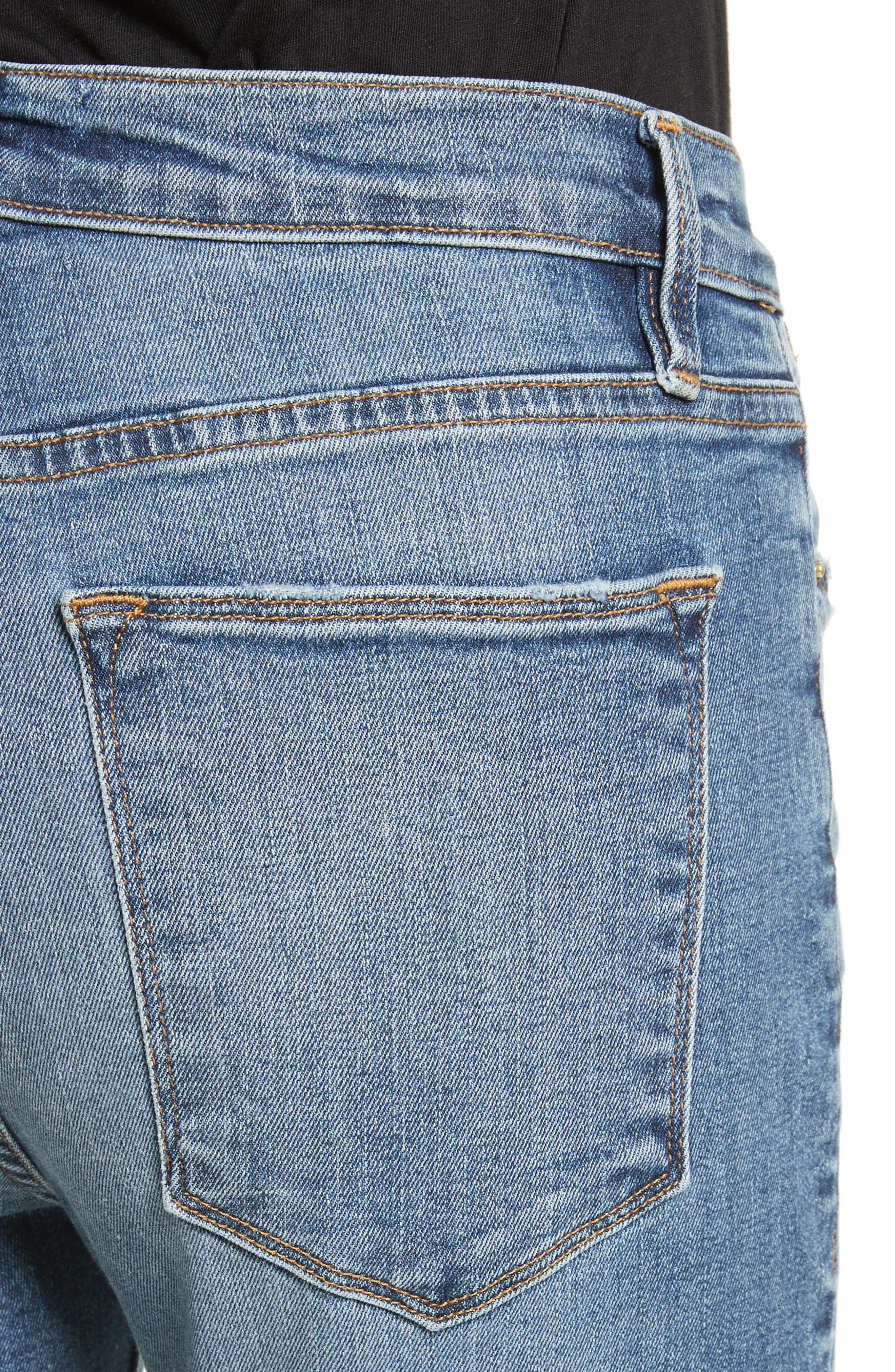 Le High Straight High Waist Crop Jeans,                             Alternate thumbnail 5, color,                             Whitwell