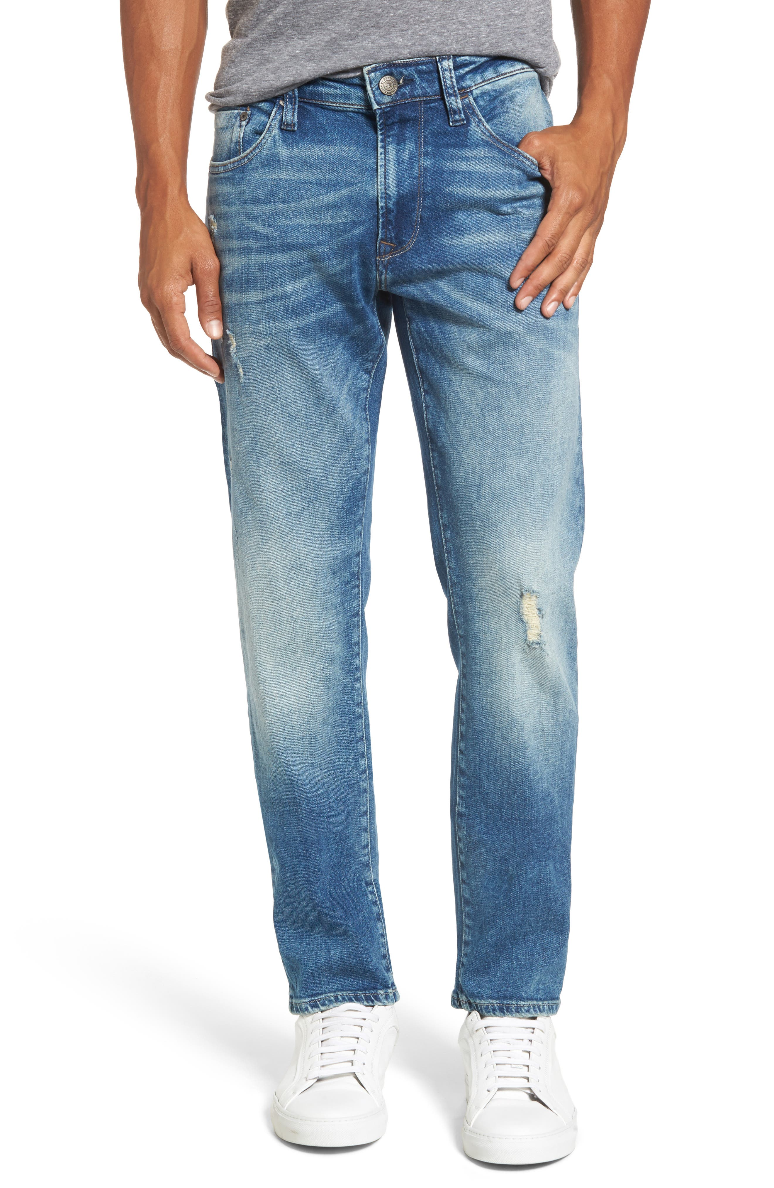 Alternate Image 1 Selected - Mavi Jeans Jake Easy Slim Fit Jeans (Mid Ripped Authentic Vintage)