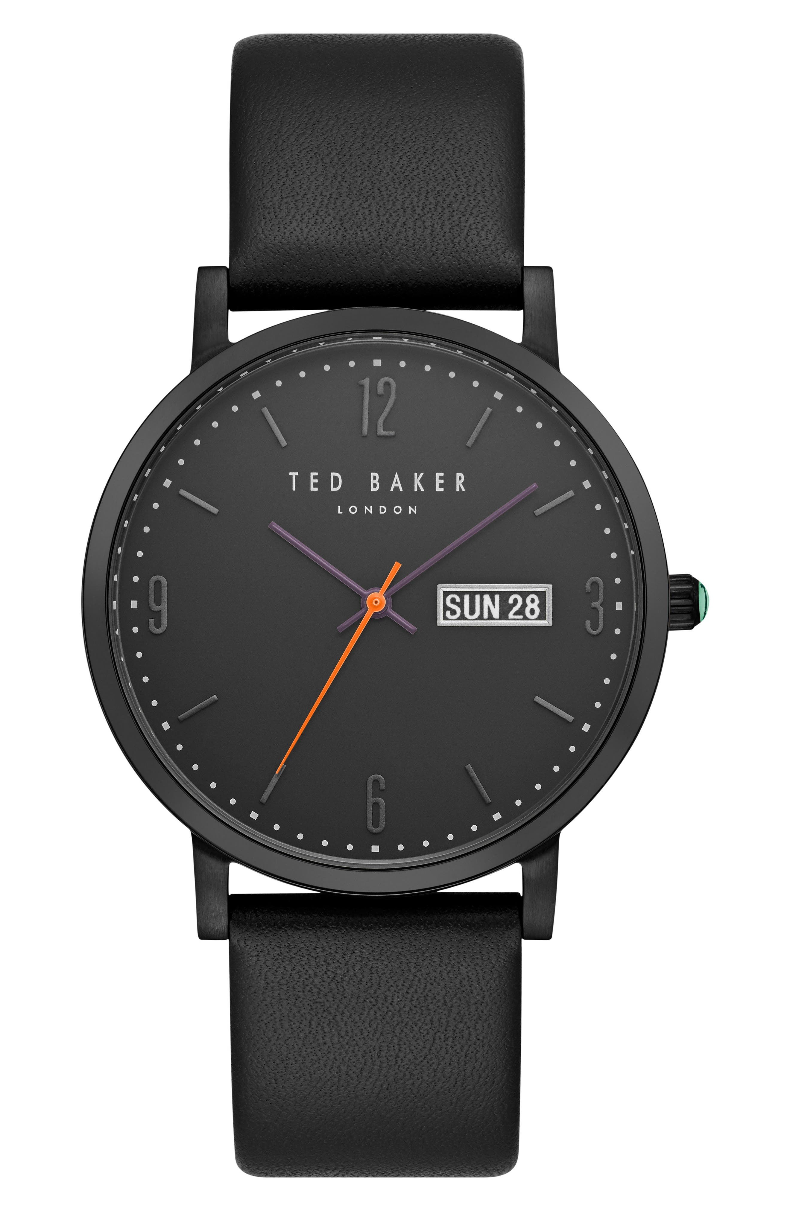 Grant Leather Strap Watch, 40mm,                             Main thumbnail 1, color,                             Black/ Black