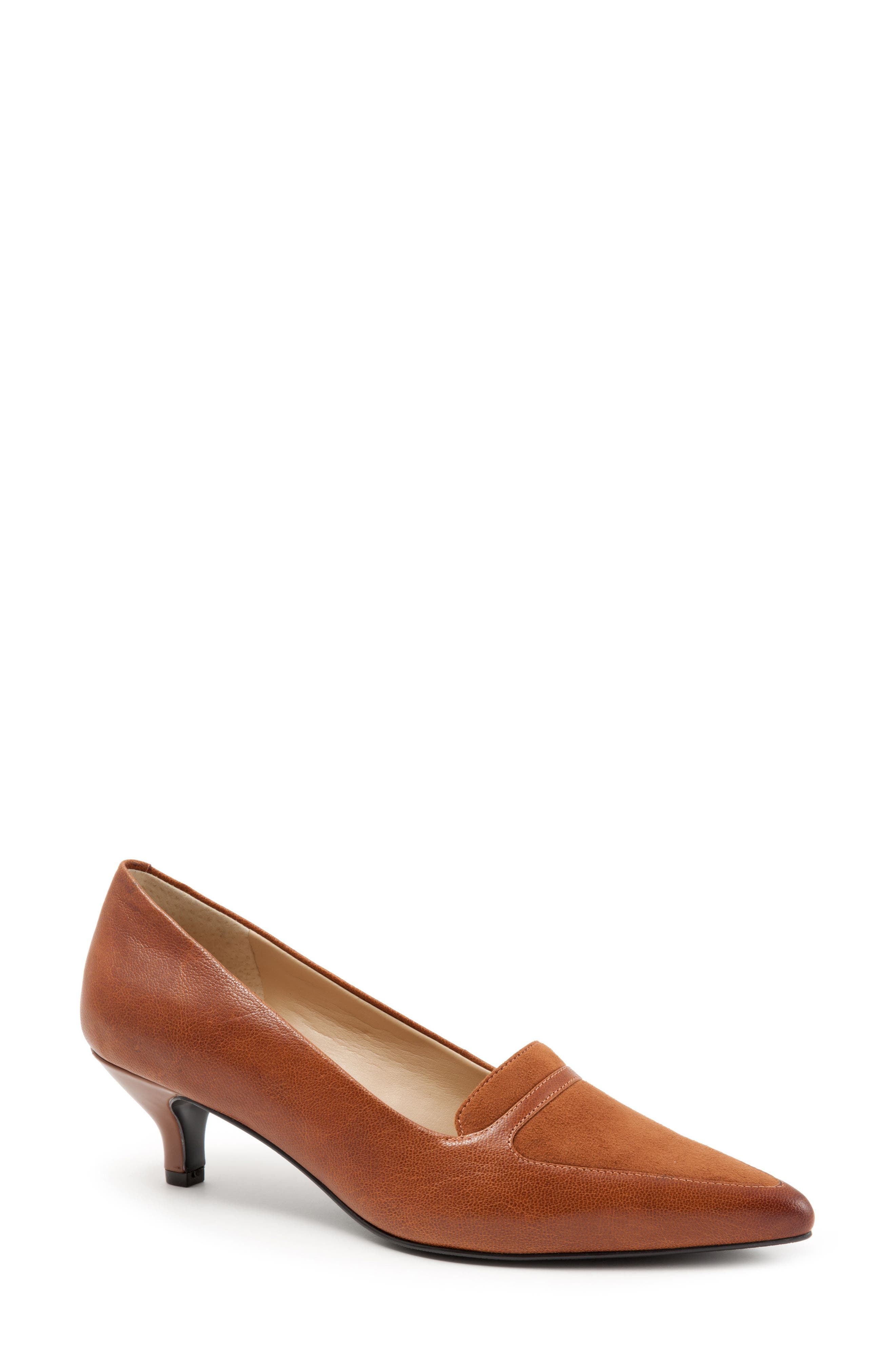 'Piper' Pointy Toe Pump,                             Main thumbnail 1, color,                             Luggage Leather