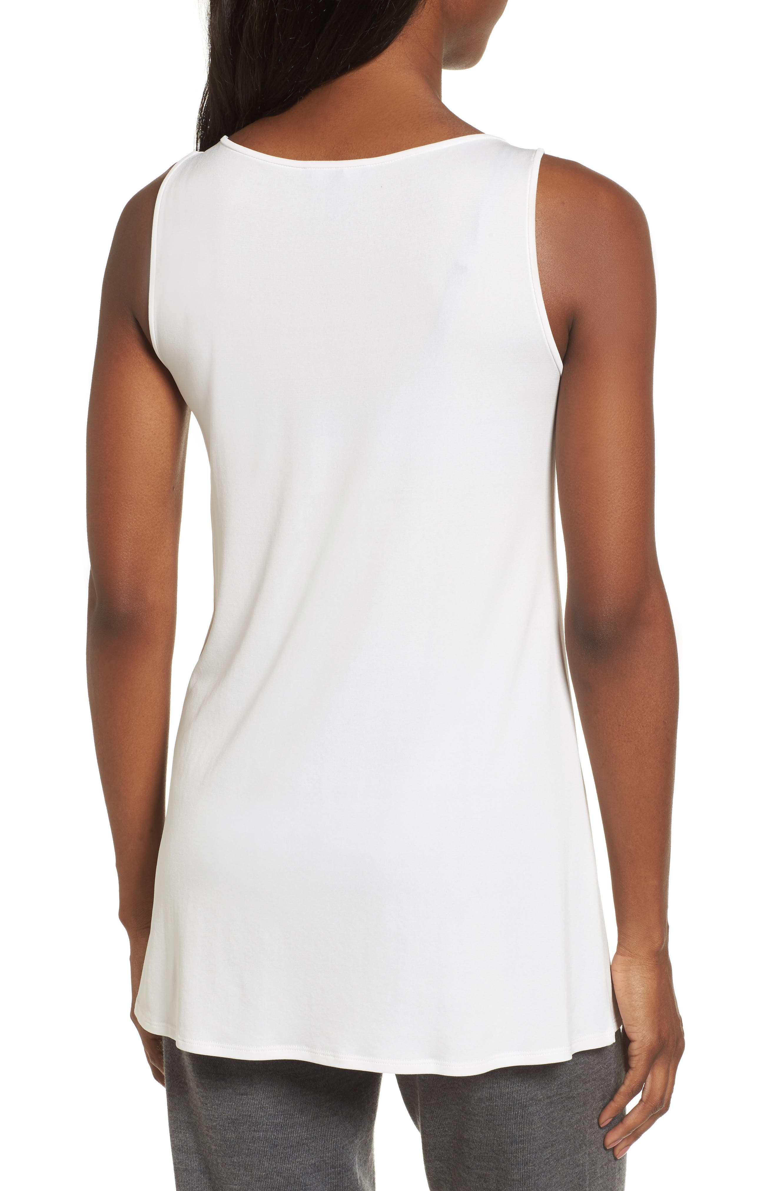 Alternate Image 2  - Eileen Fisher Scoop Neck Silk Tunic (Regular & Petite)