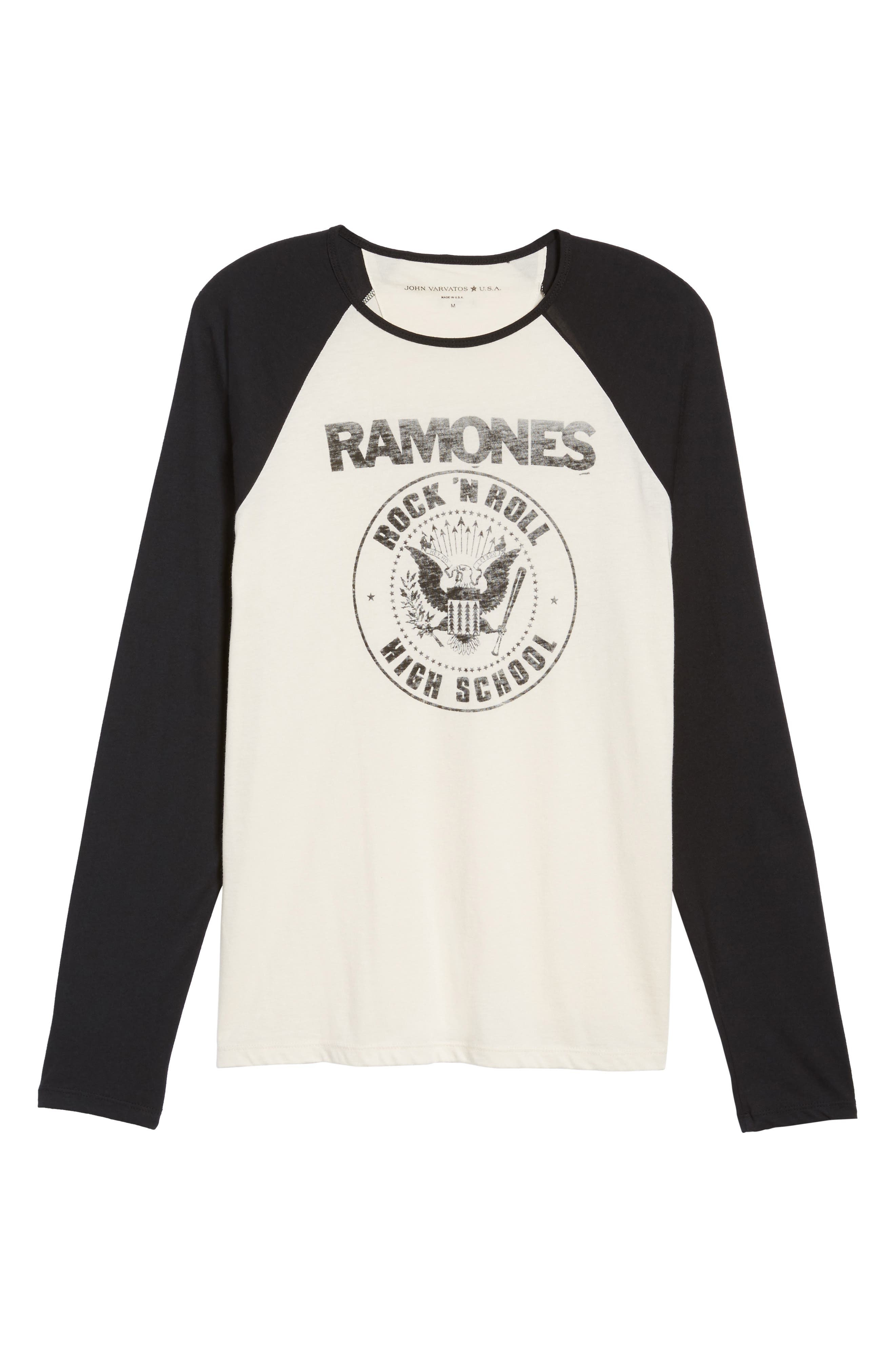 Ramones Rock N Roll High School Graphic T-Shirt,                             Alternate thumbnail 6, color,                             Salt