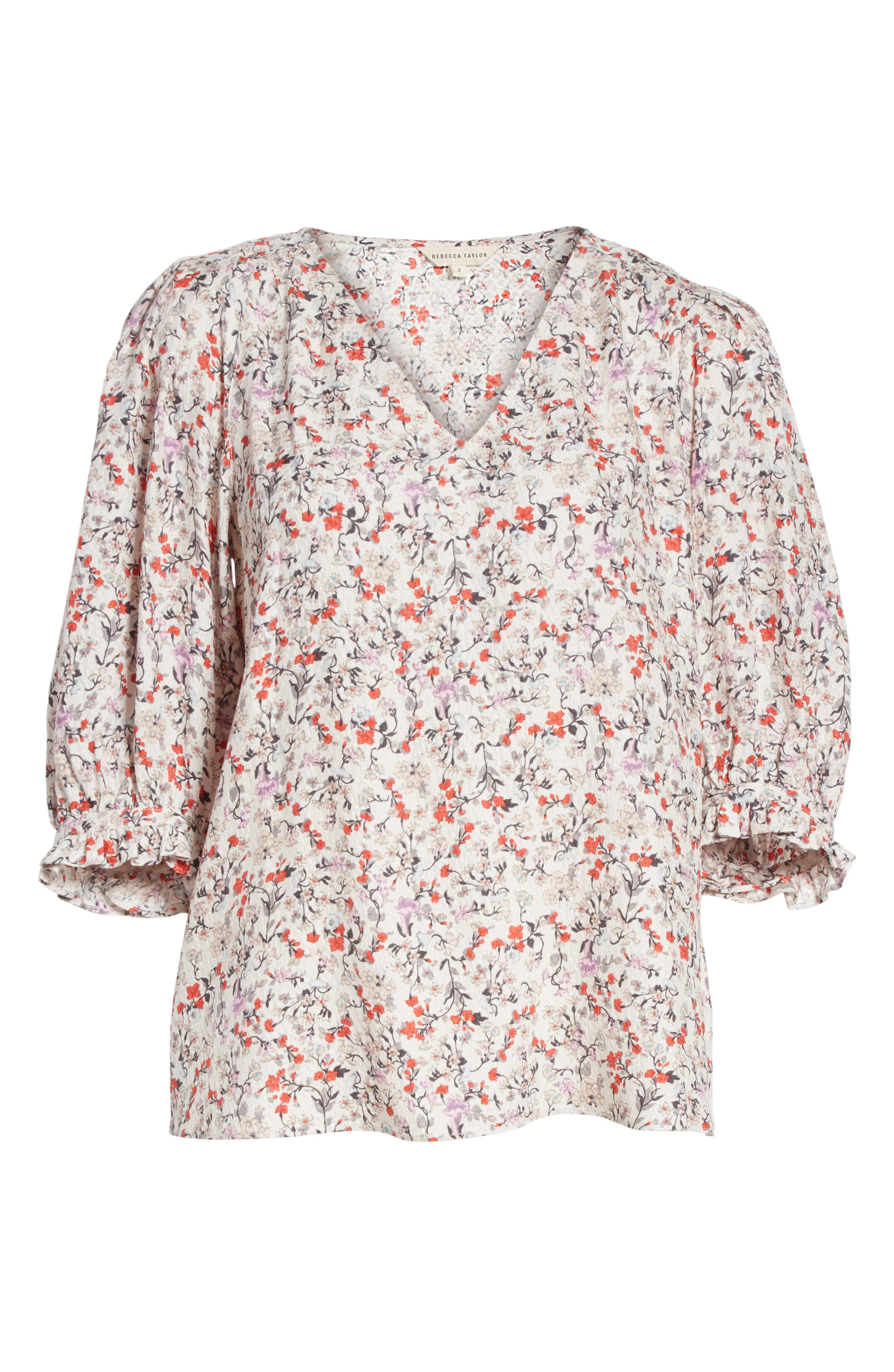 Alternate Image 6  - Rebecca Taylor Lyra Floral Silk Top