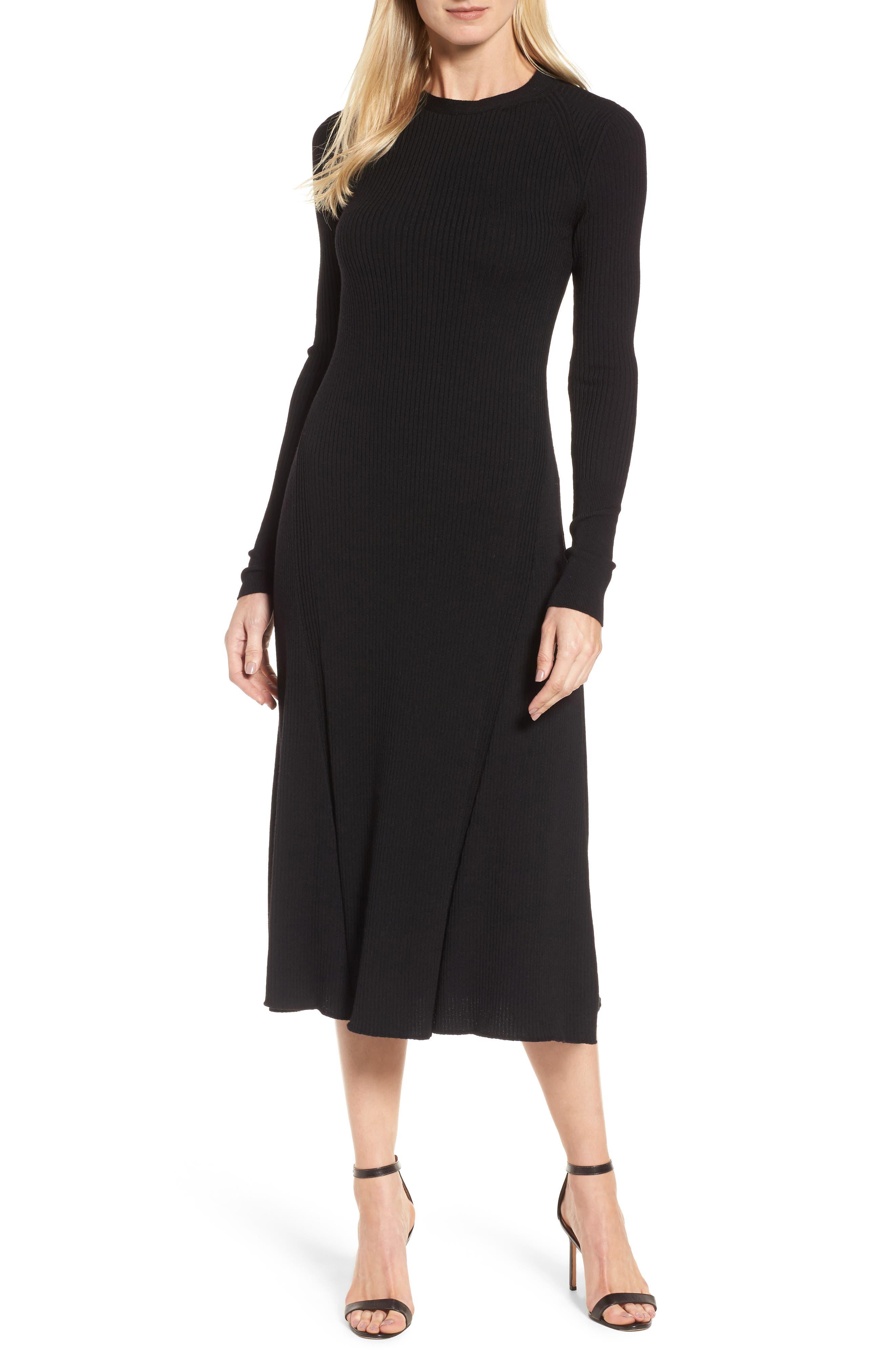 Faustine Midi Dress,                             Main thumbnail 1, color,                             Black