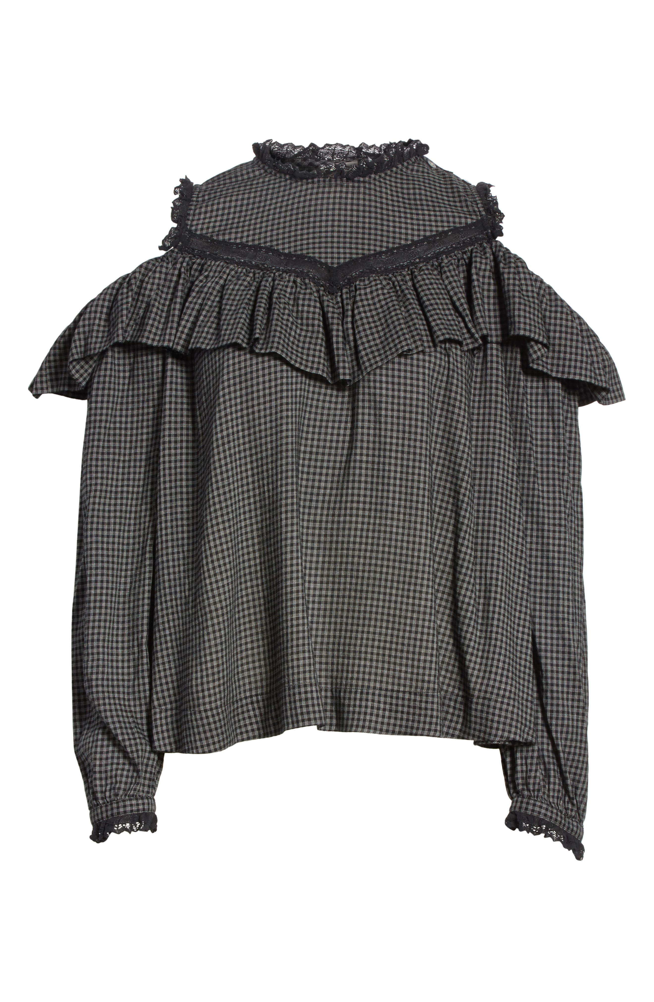 Alternate Image 6  - La Vie Rebecca Taylor Plaid Ruffle Cold Shoulder Top