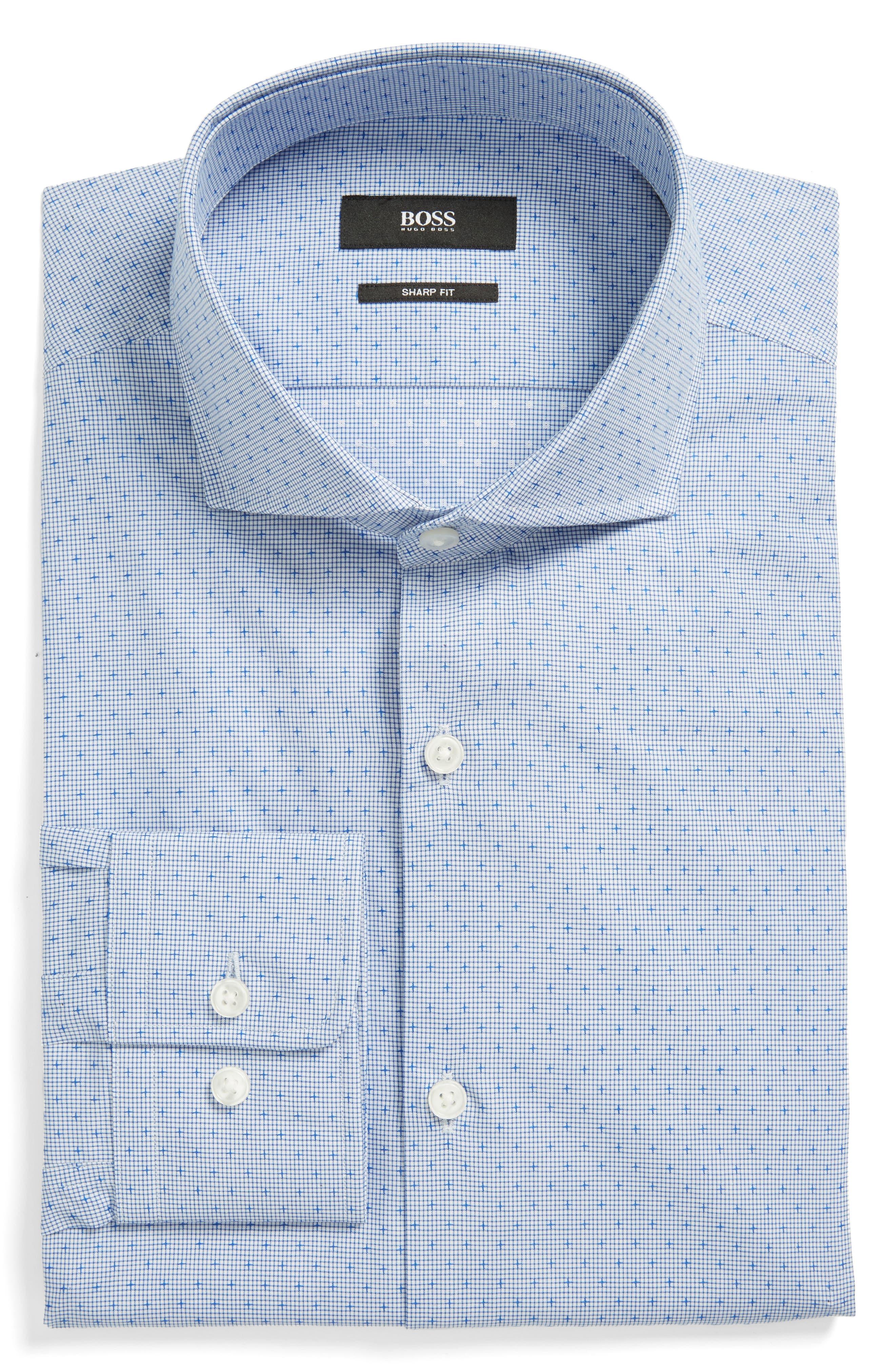 Mark Sharp Fit Dobby Dress Shirt,                             Main thumbnail 1, color,                             Medium Blue