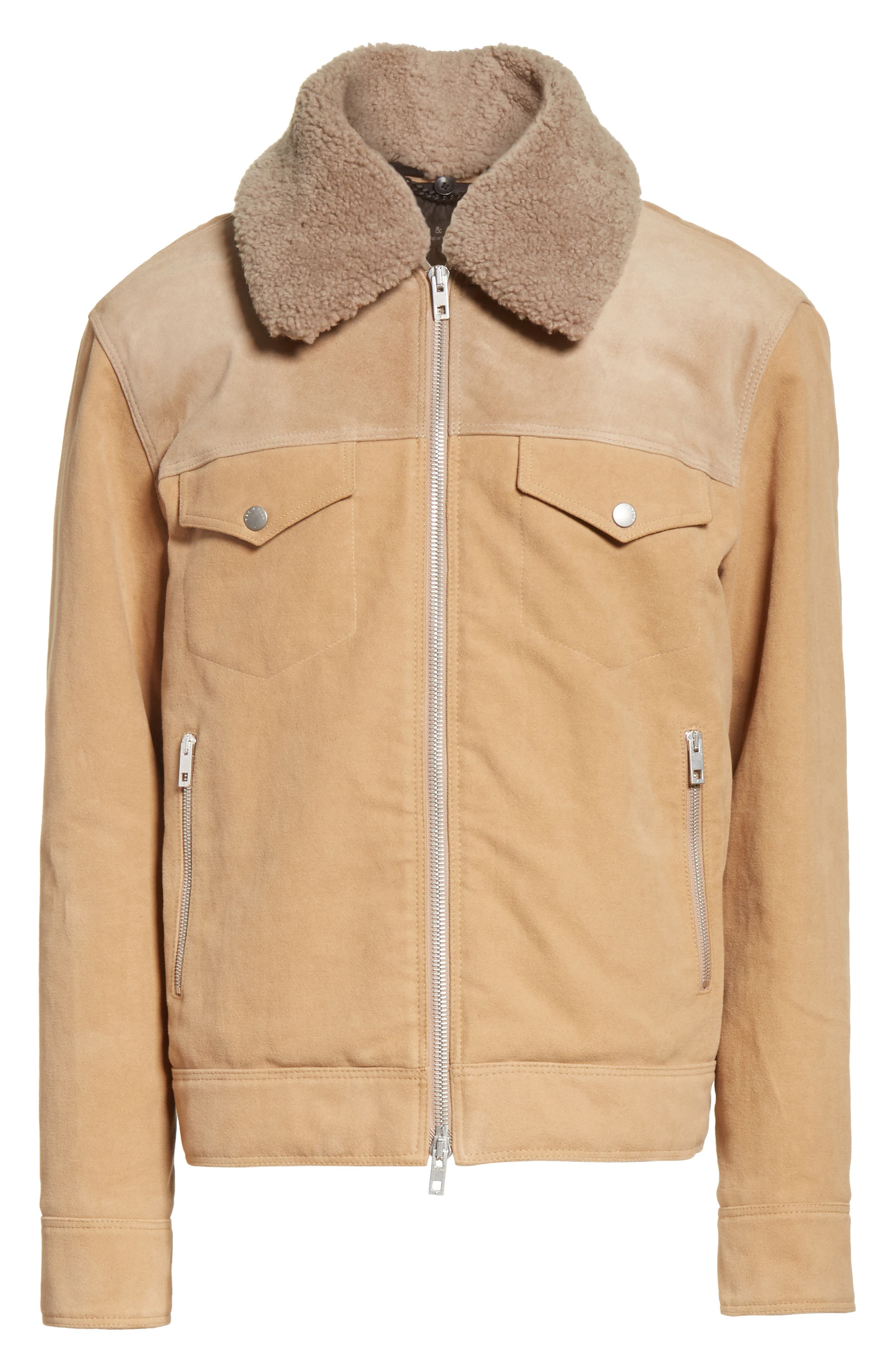 Matthew Work Jacket with Genuine Shearling Collar,                             Alternate thumbnail 6, color,                             Camel