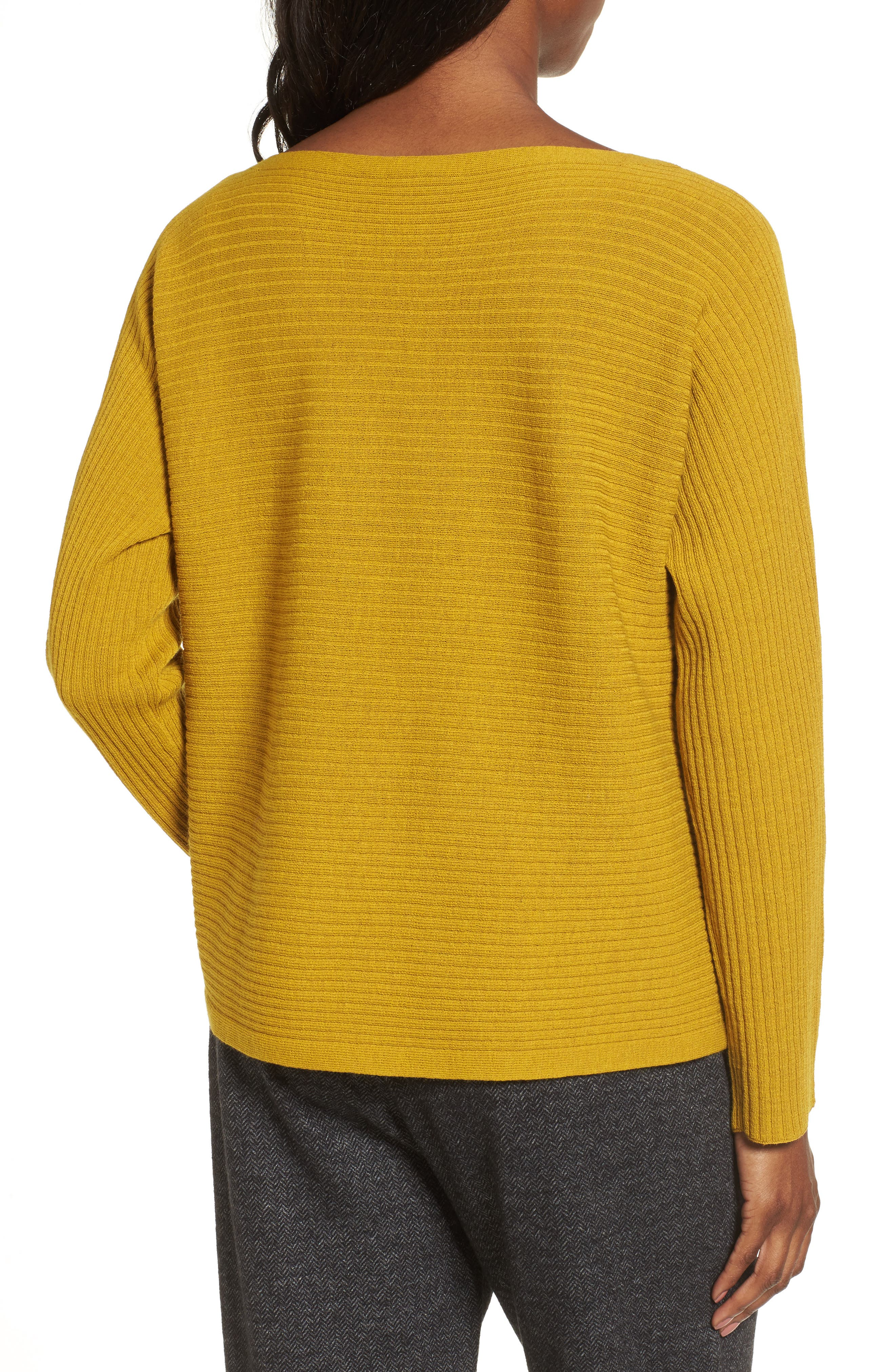 Boxy Ribbed Wool Sweater,                             Alternate thumbnail 3, color,                             Mustard Seed