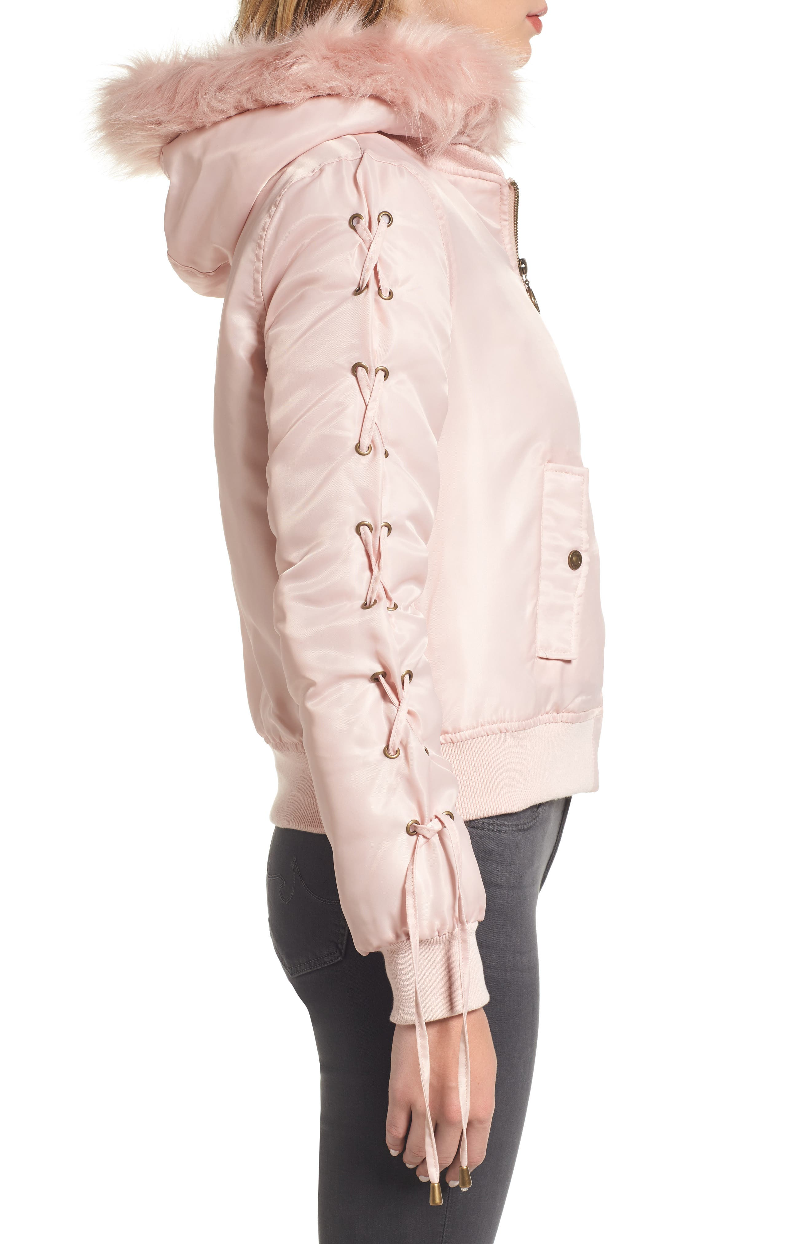 Lace-Up Sleeve Quilted Bomber Jacket,                             Alternate thumbnail 3, color,                             Blush