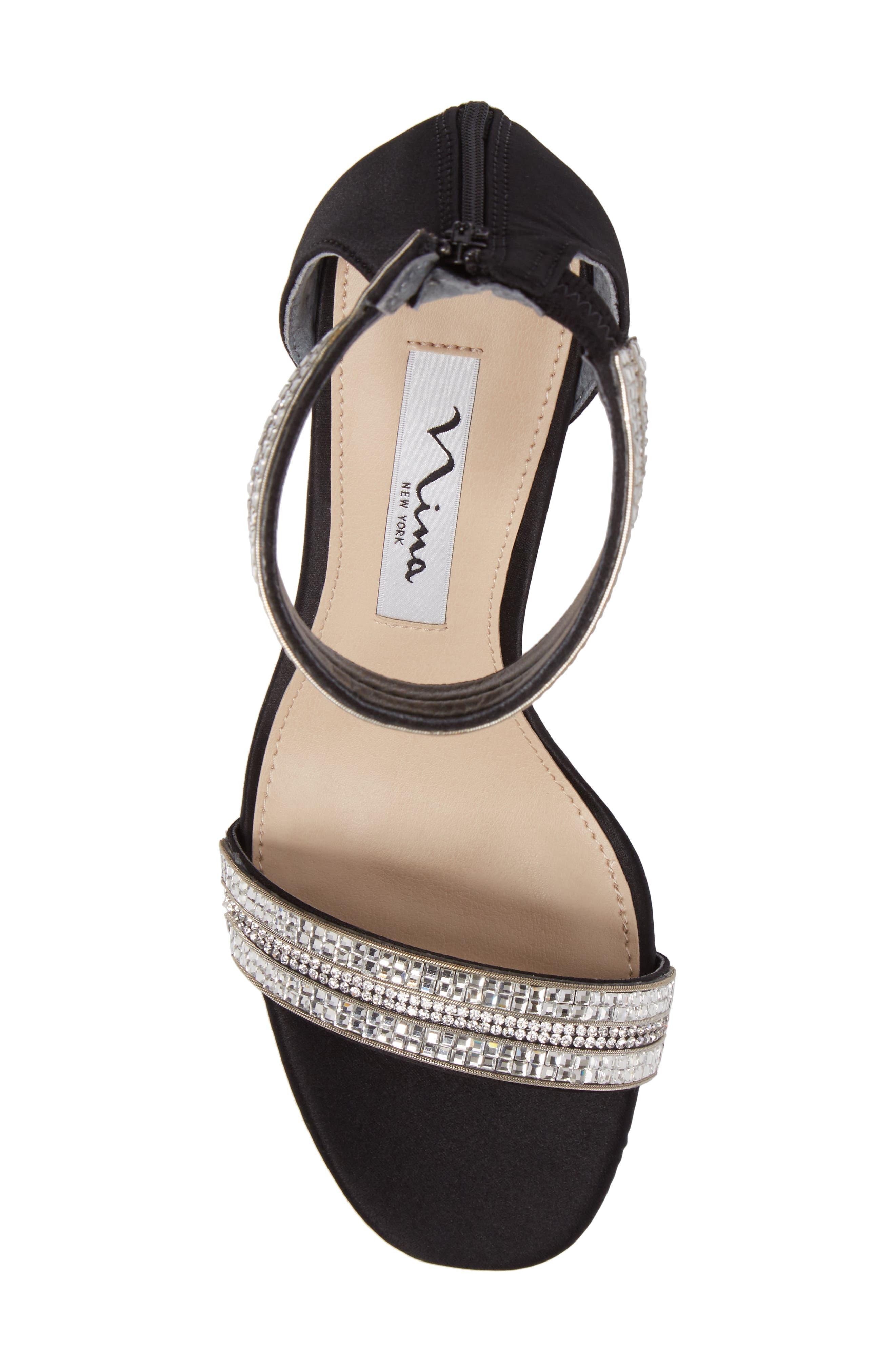 Aubrie Ankle Strap Sandal,                             Alternate thumbnail 5, color,                             Black Satin