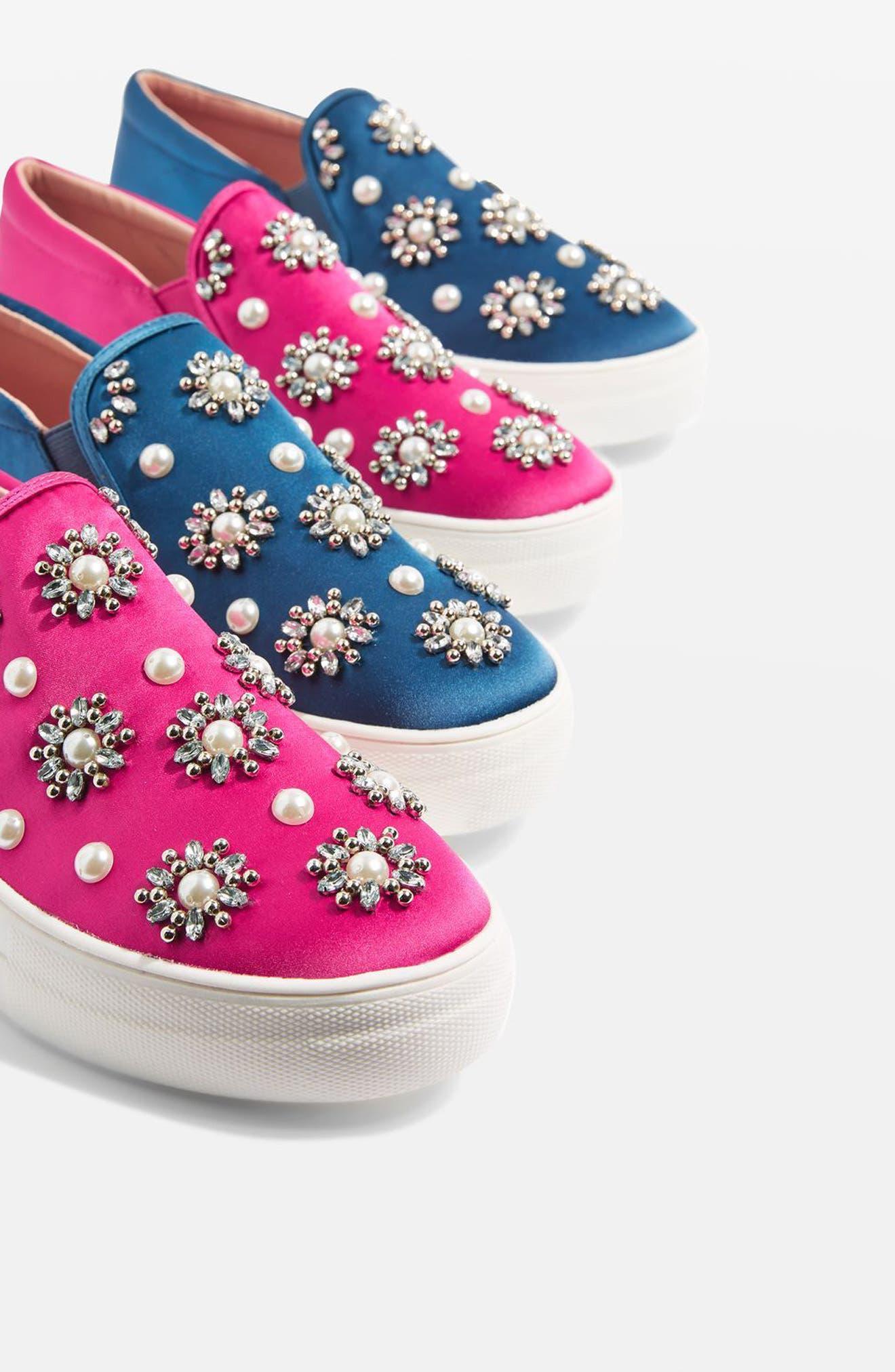 Tilt Embellished Slip-On Sneaker,                             Alternate thumbnail 9, color,                             Pink Multi