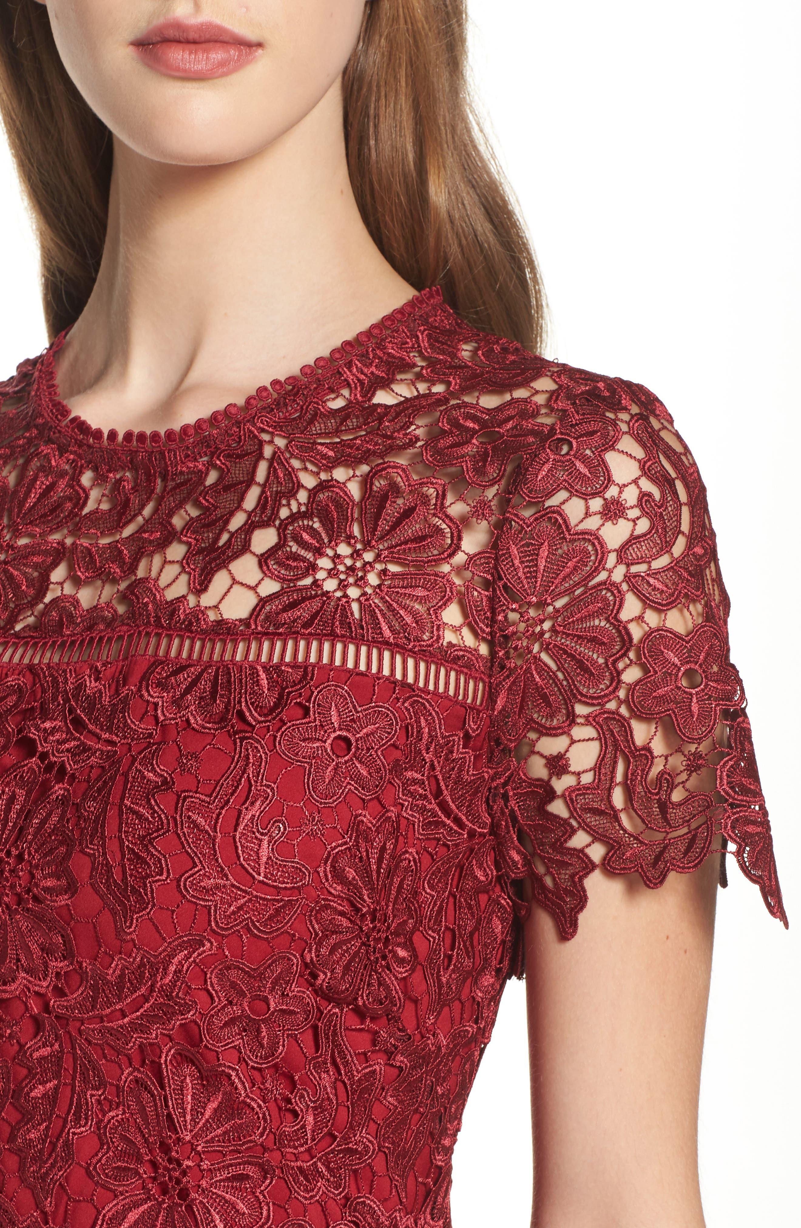 Park Lace Midi Dress,                             Alternate thumbnail 4, color,                             Cranberry
