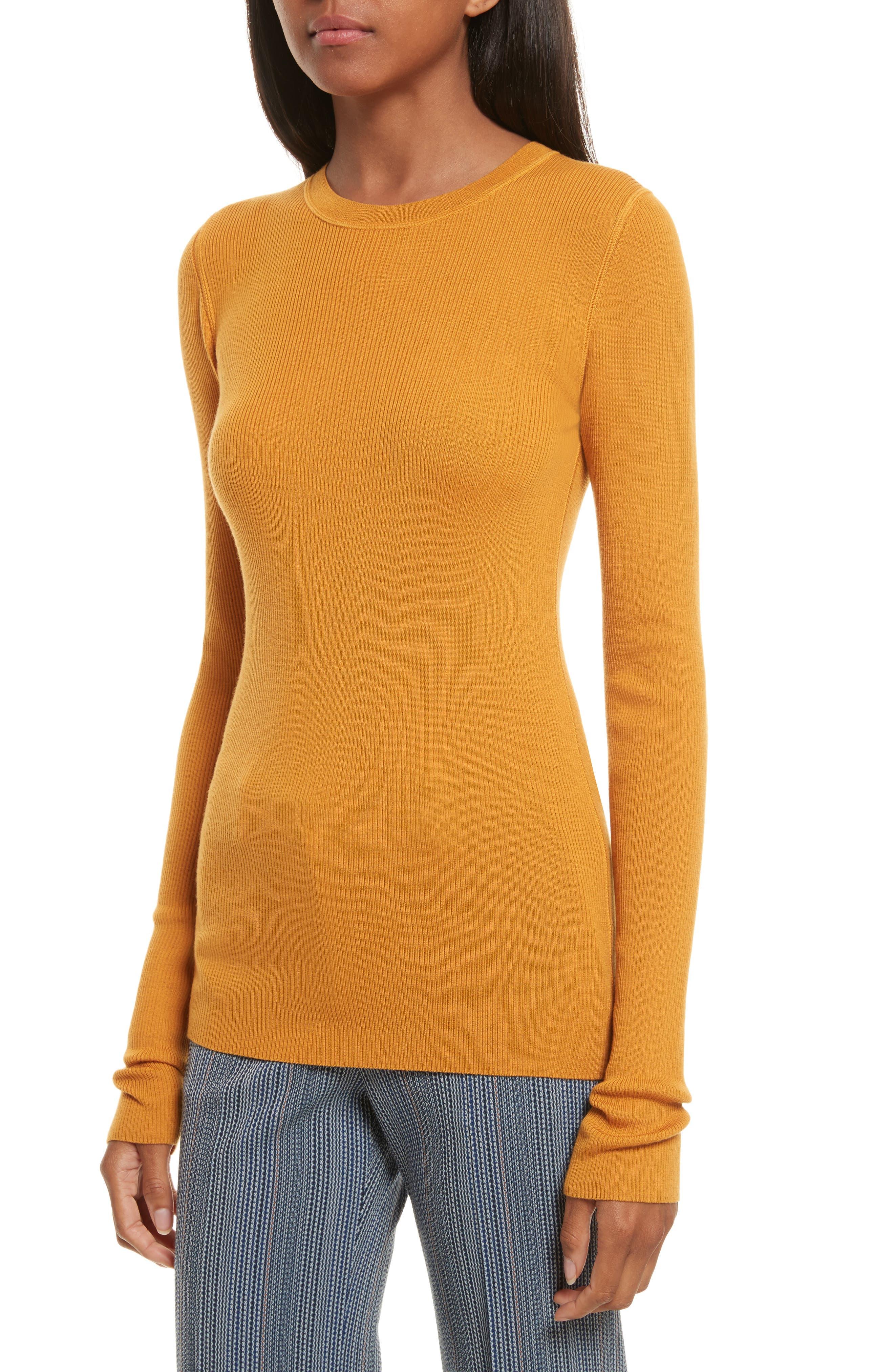Mirzi Ribbed Sweater,                             Alternate thumbnail 4, color,                             Papaya