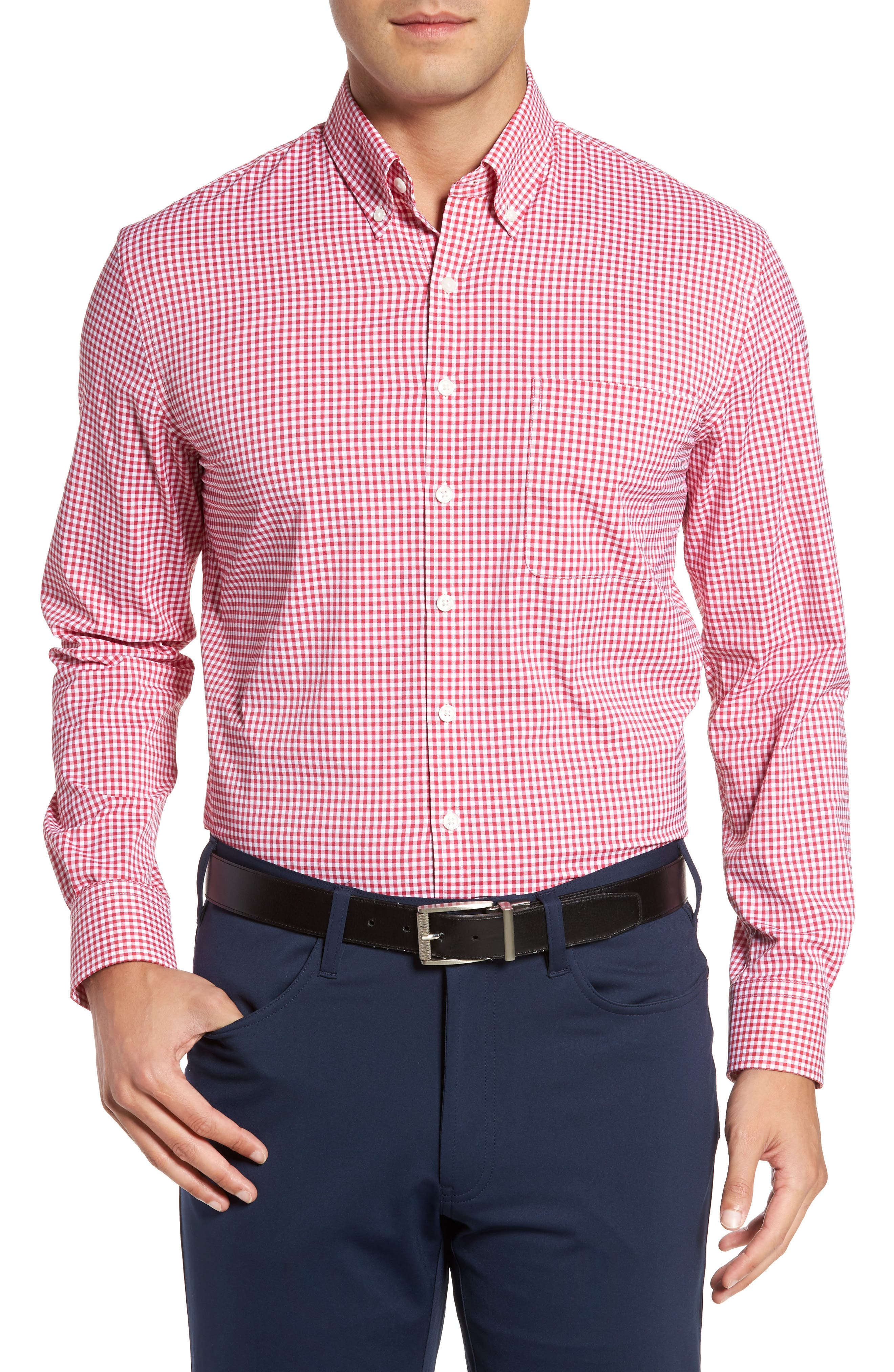 Ramsey Easy Care Gingham Sport Shirt,                         Main,                         color, Pompei Pink