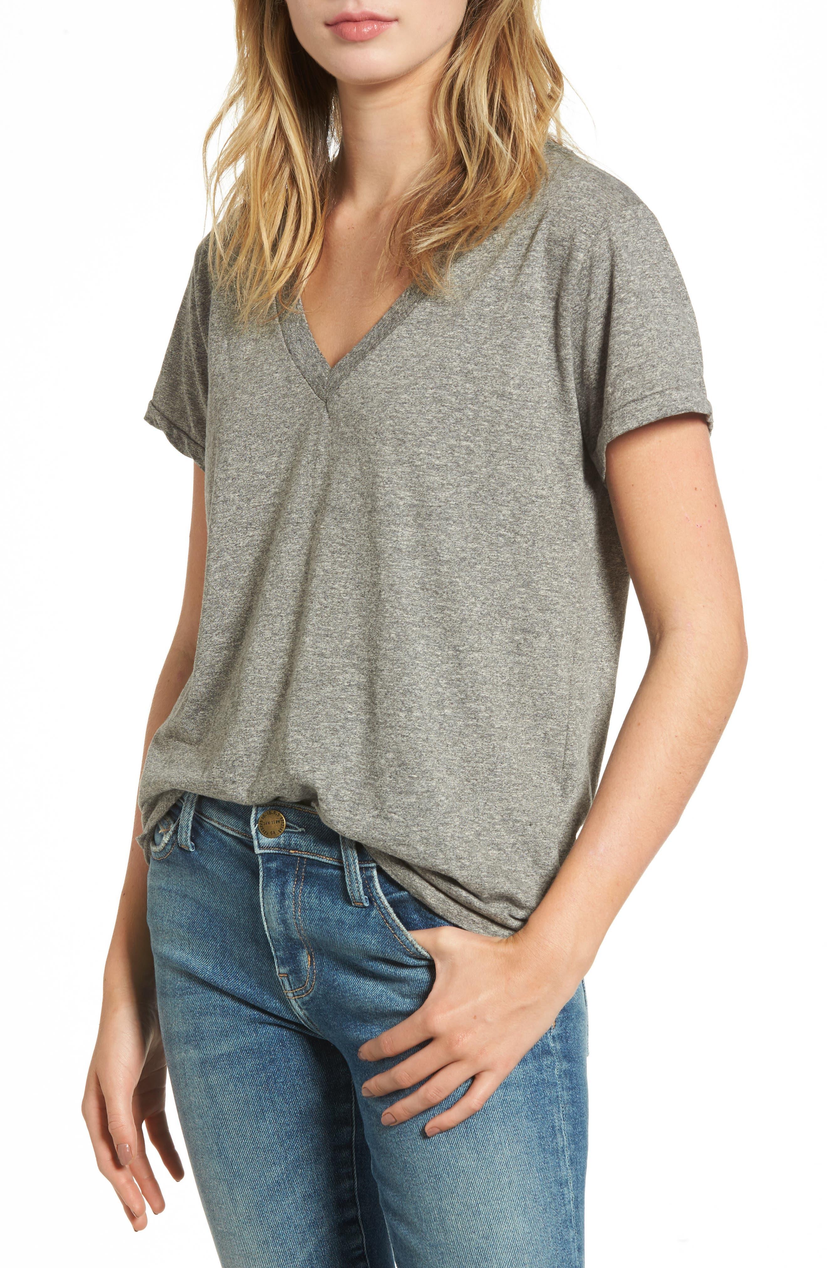'The V-Neck' Tee,                             Main thumbnail 1, color,                             Heather Grey