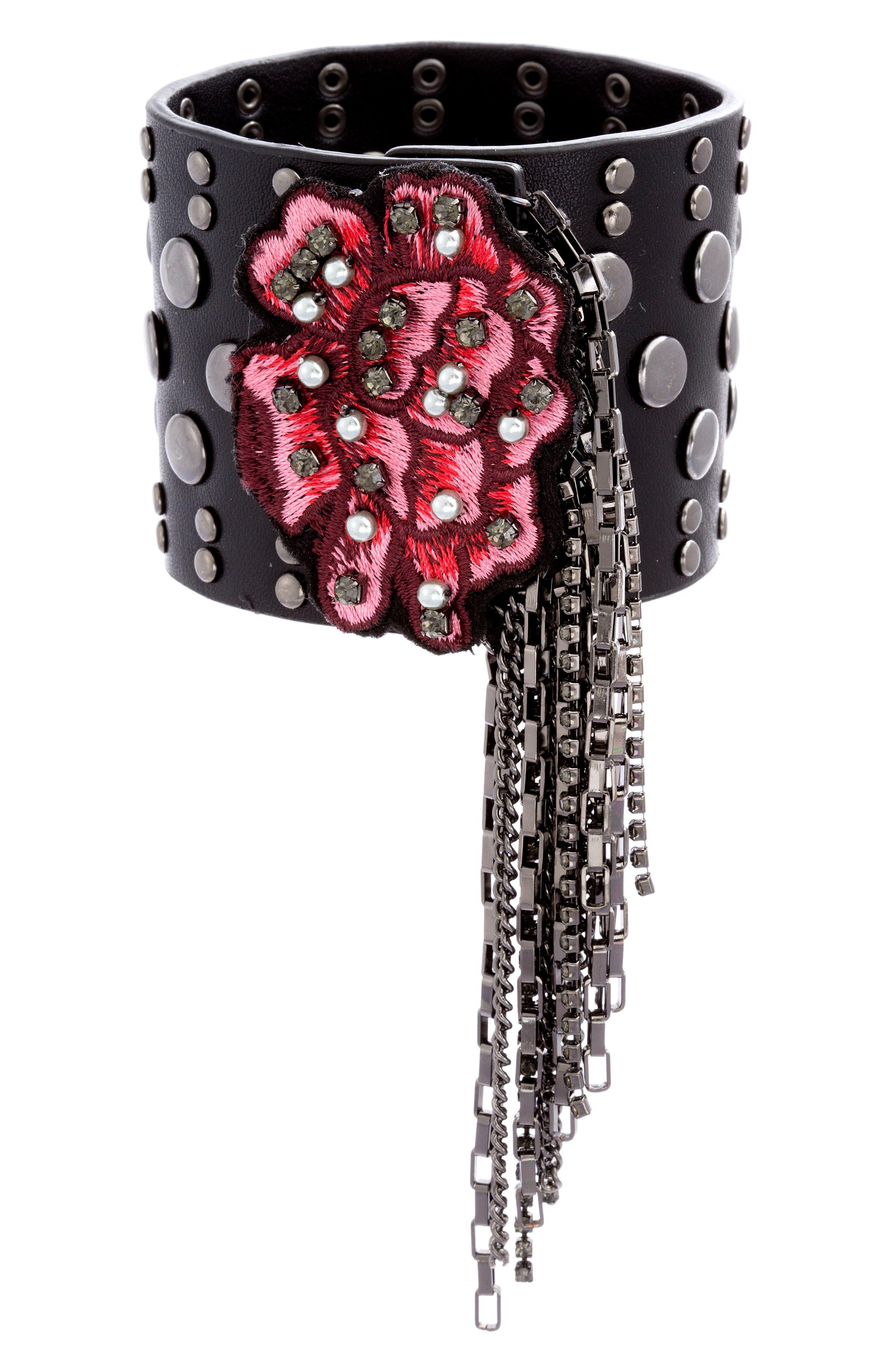 Faux Leather Bracelet,                         Main,                         color, Red/ Black