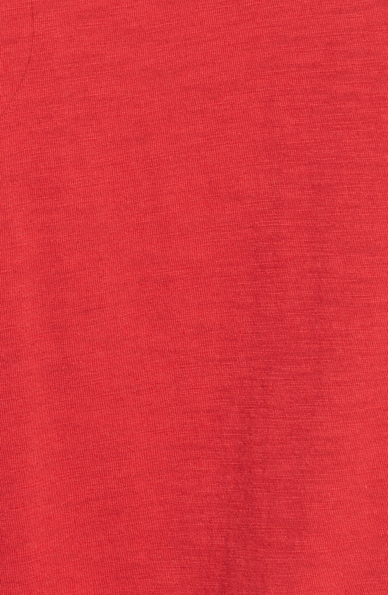 Grommet Lace-Up Tee,                             Alternate thumbnail 5, color,                             American Red