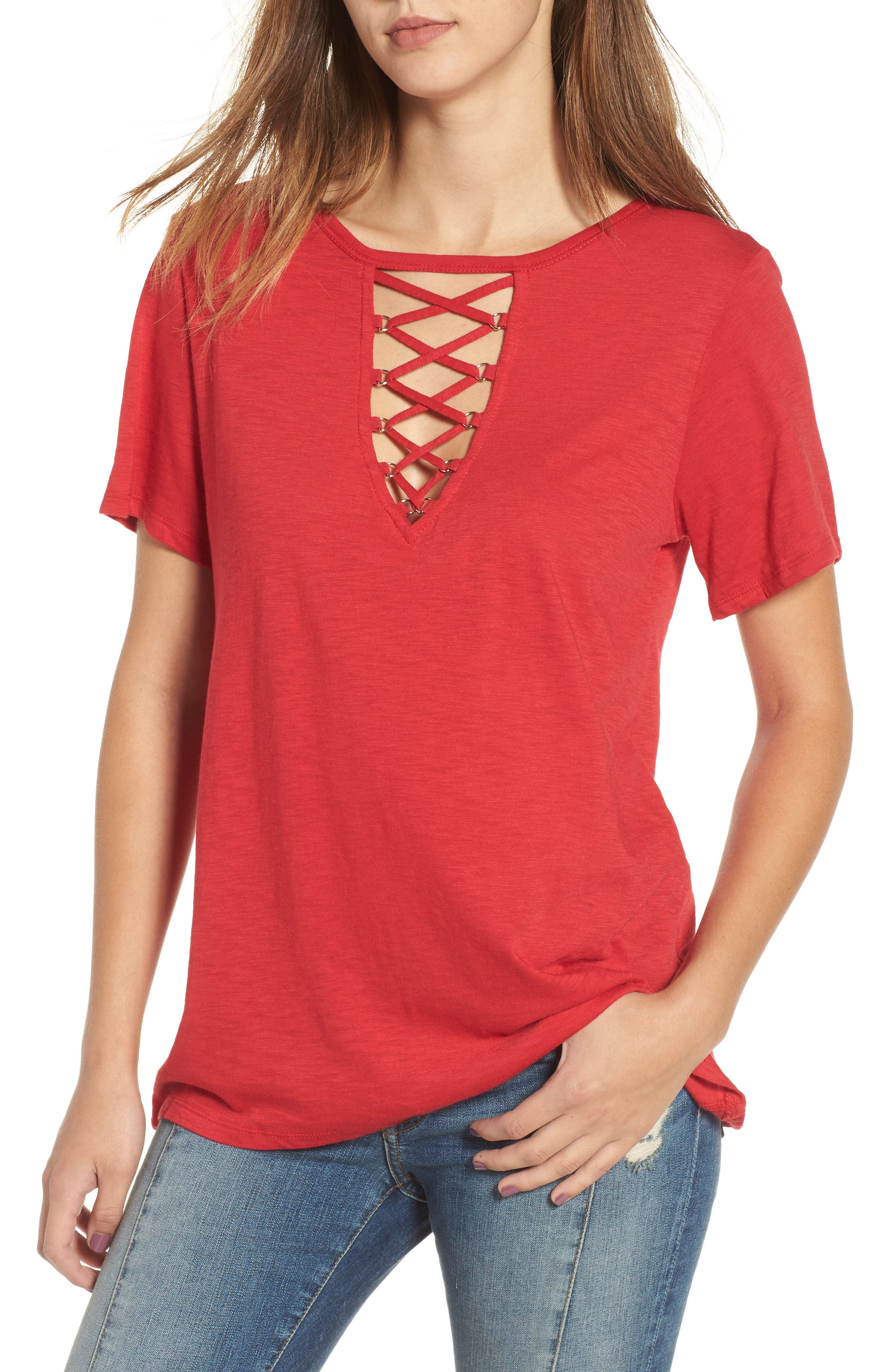 Main Image - Socialite Grommet Lace-Up Tee