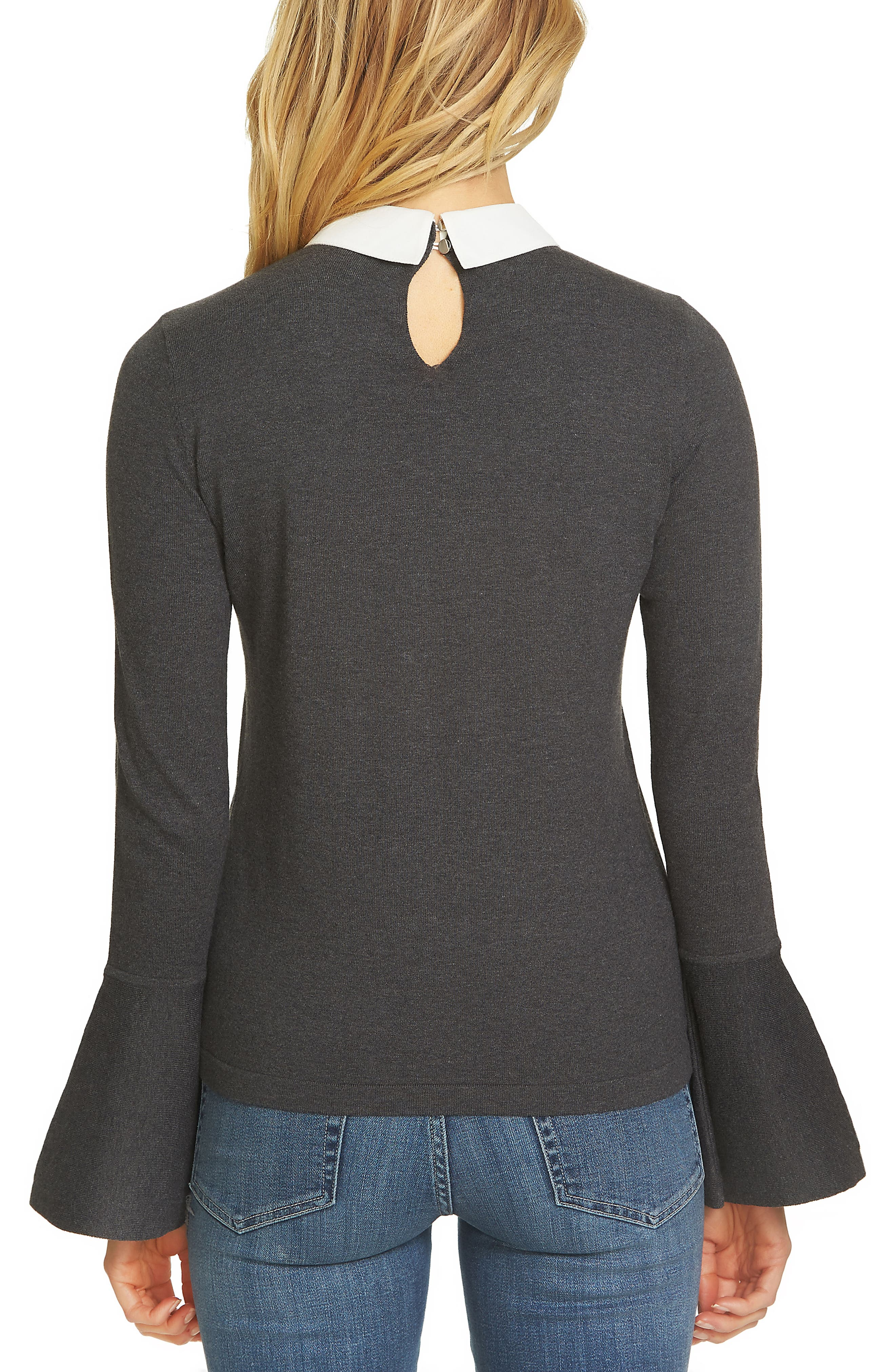 Alternate Image 2  - CeCe Collar Bell Sleeve Sweater