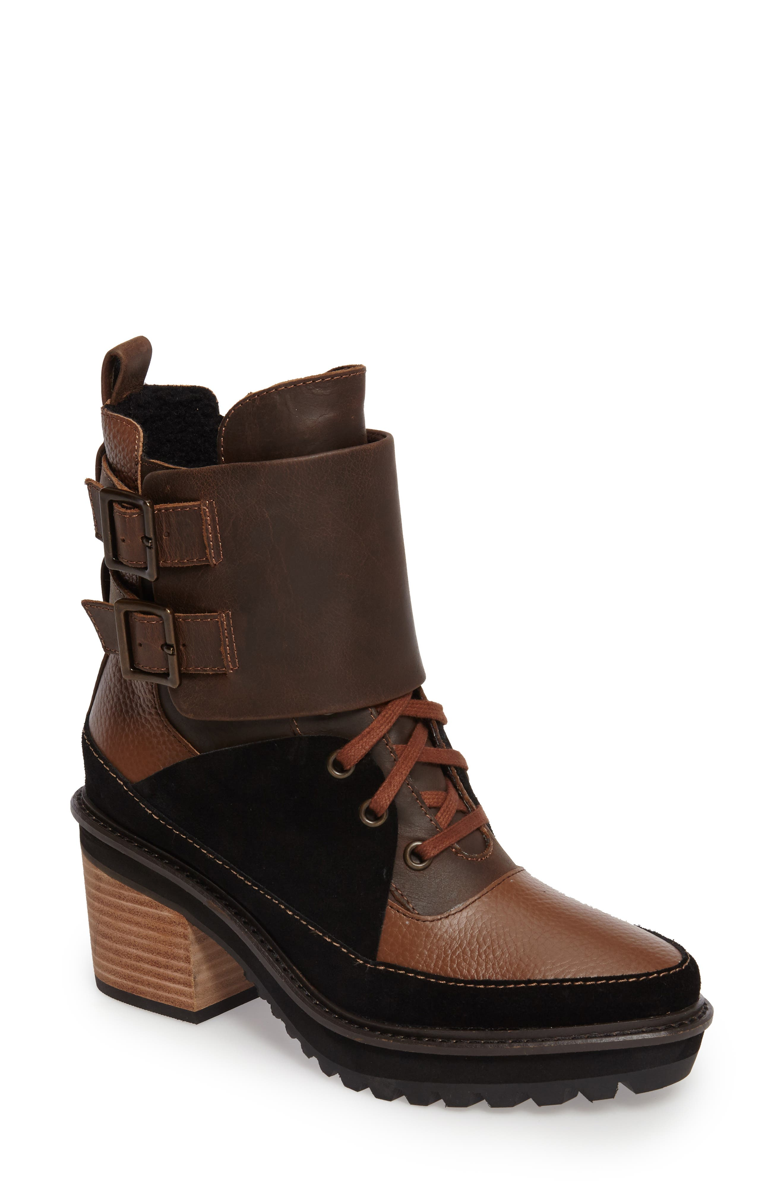 Peak Bootie,                             Main thumbnail 1, color,                             Timber/ Black/ Cocoa