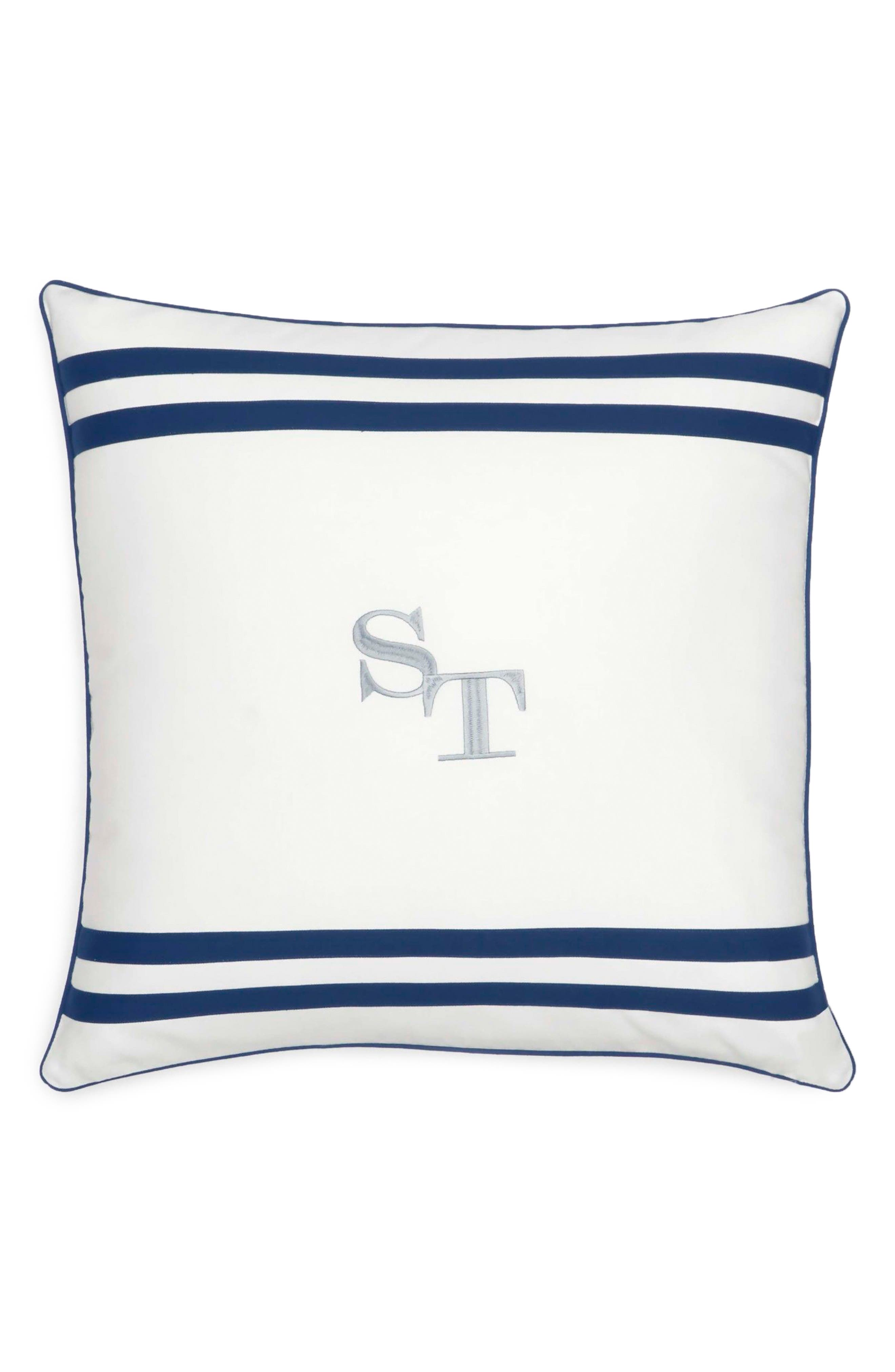 Sullivan Stripe Logo Pillow,                         Main,                         color, White