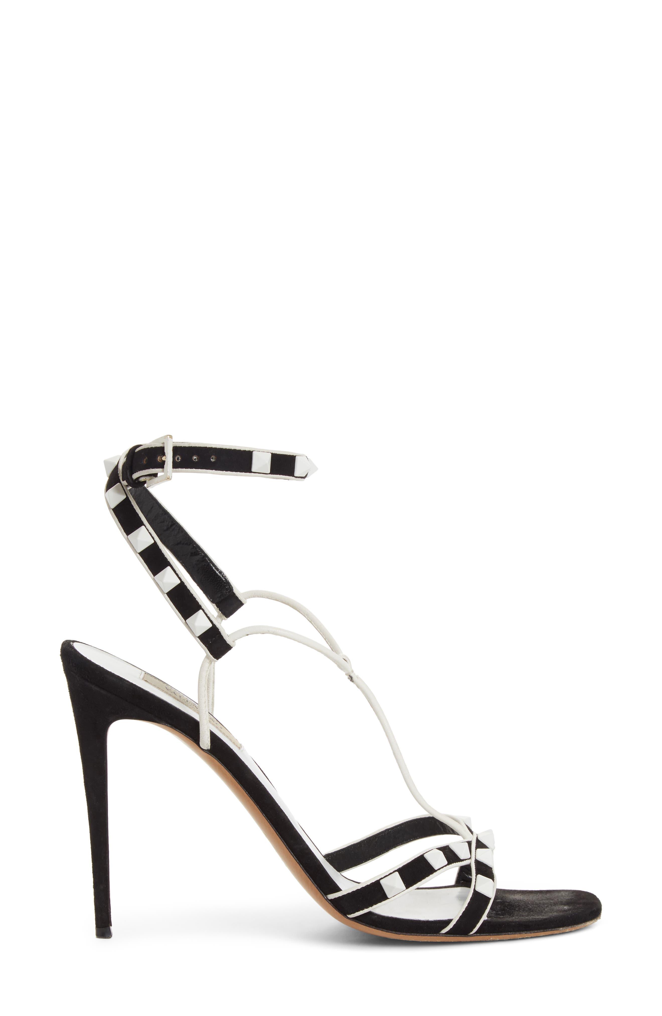 Valentino Free Rockstud T-Strap Sandal,                             Alternate thumbnail 3, color,                             Black/ White