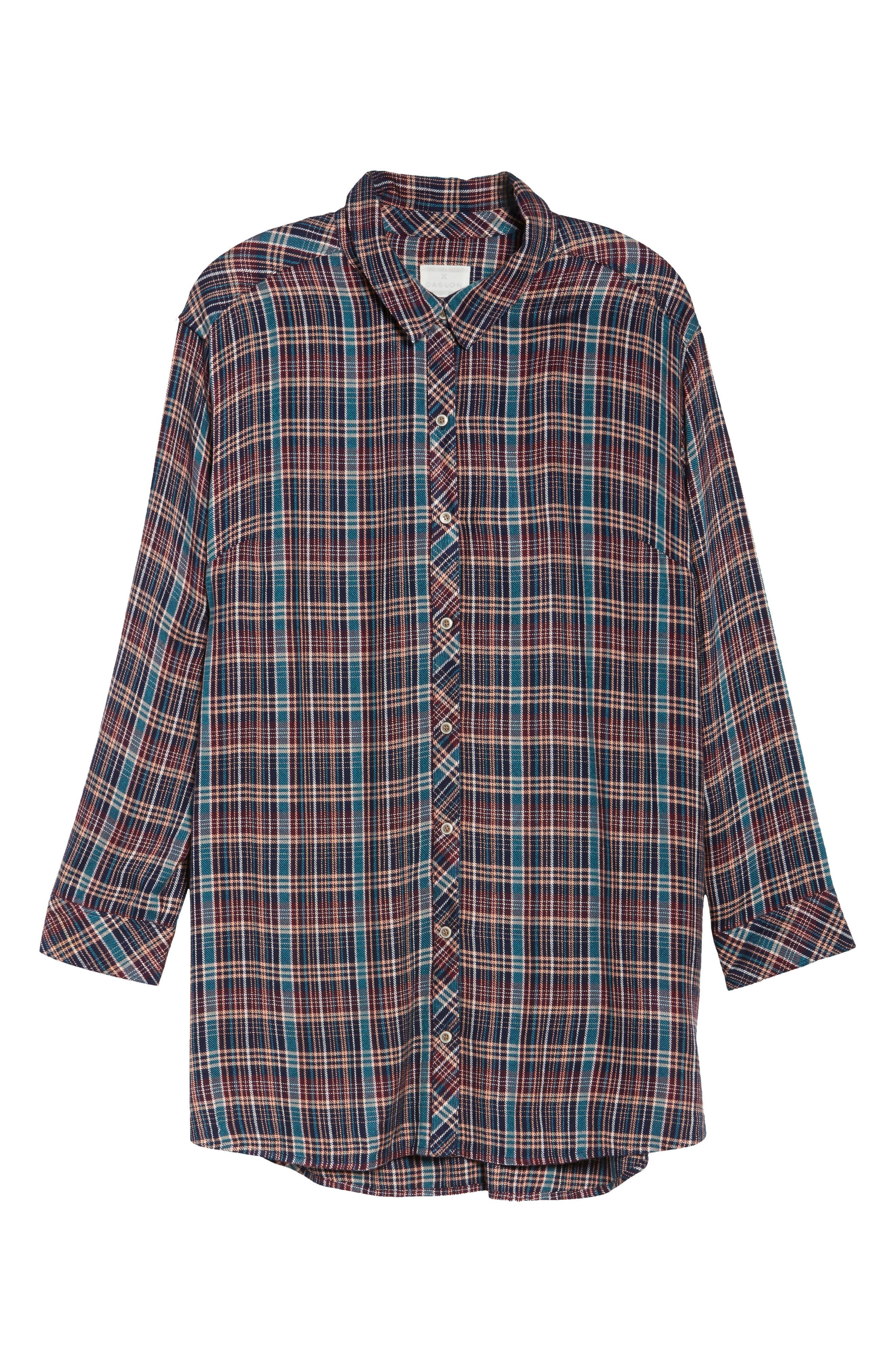 Button Side Detail Tunic Shirt,                             Alternate thumbnail 6, color,                             Navy Karen Plaid
