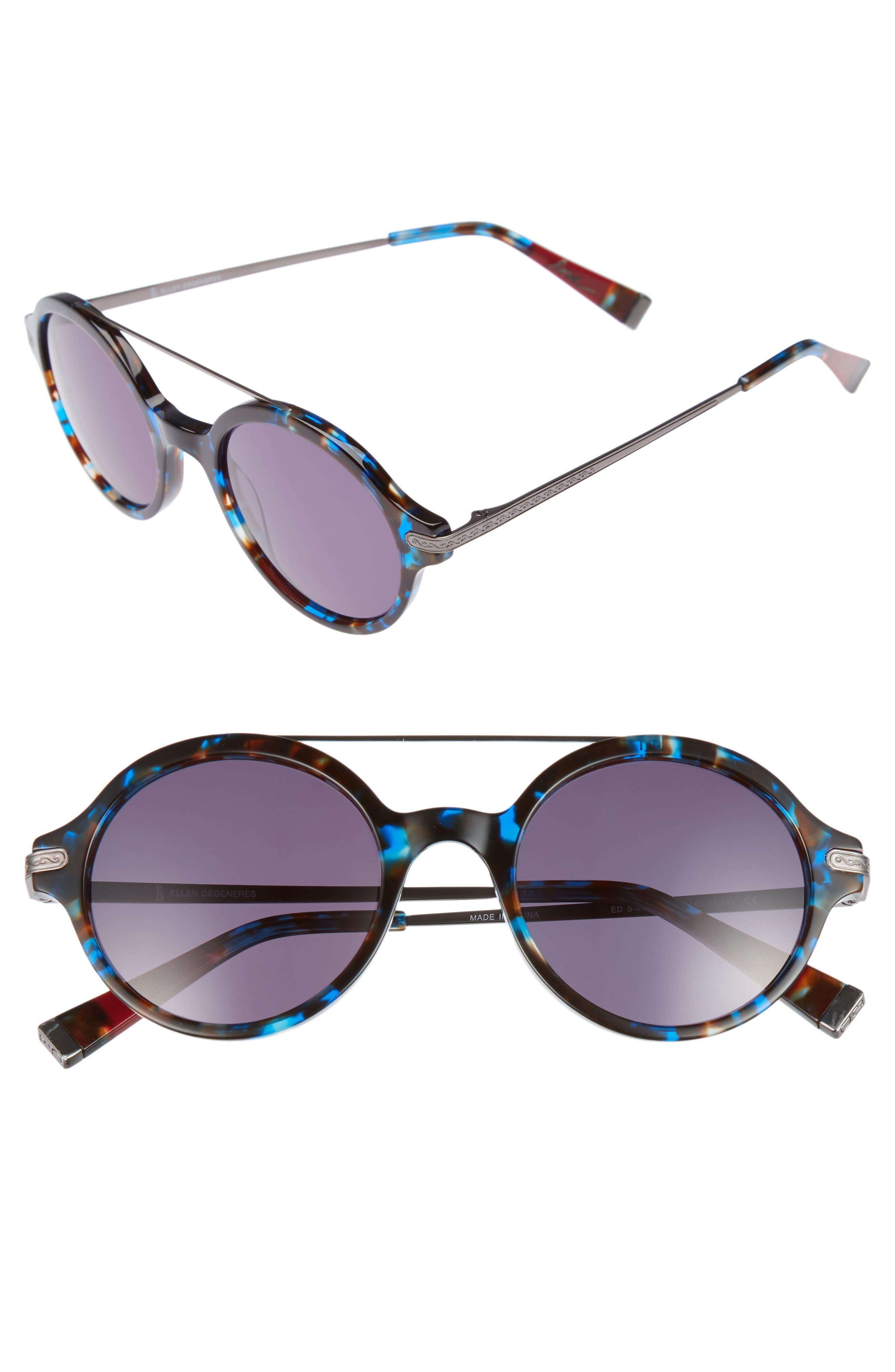 49mm Round Sunglasses,                             Main thumbnail 1, color,                             Lapis