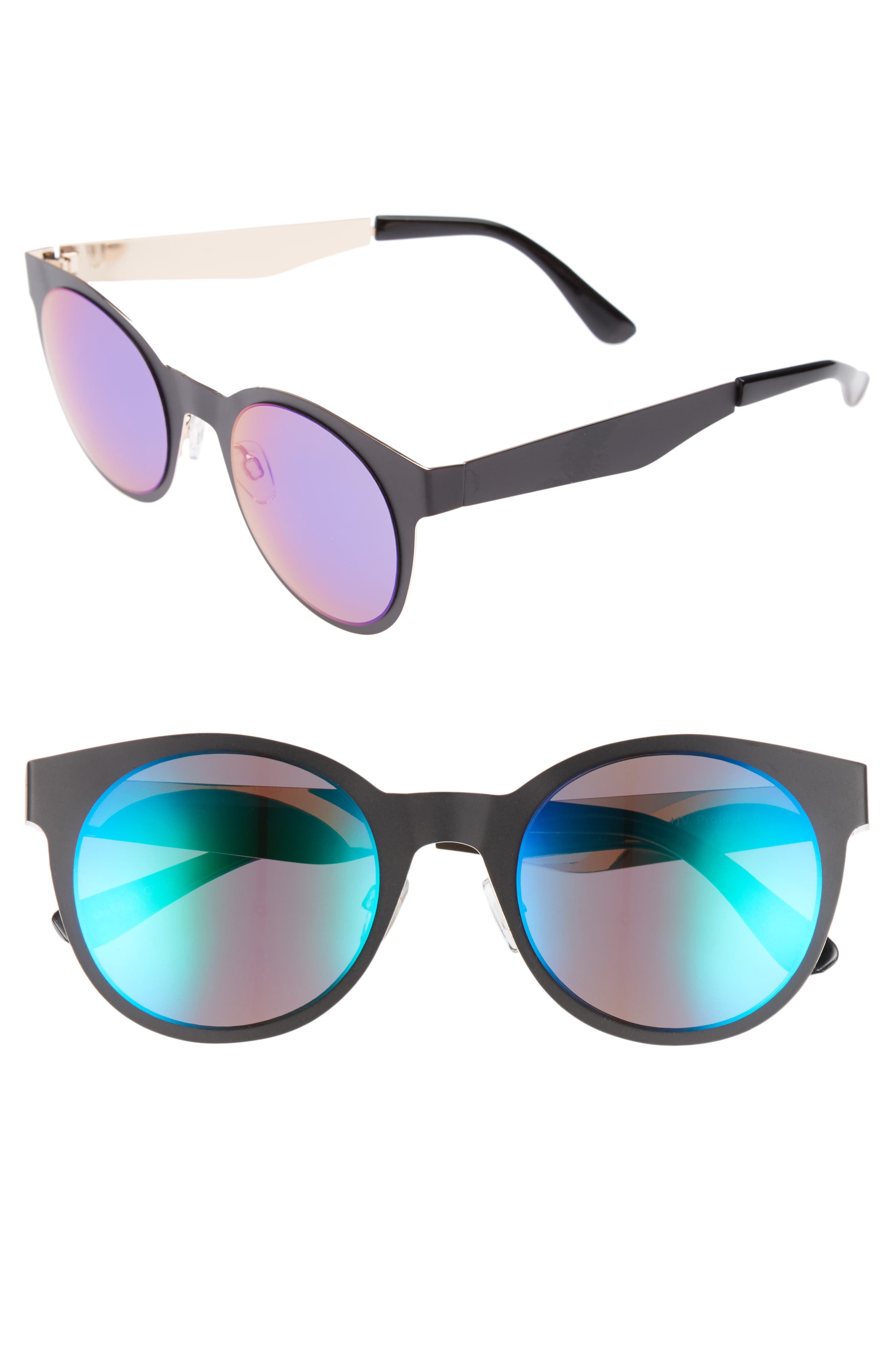 BP. 50mm Mirrored Round Sunglasses