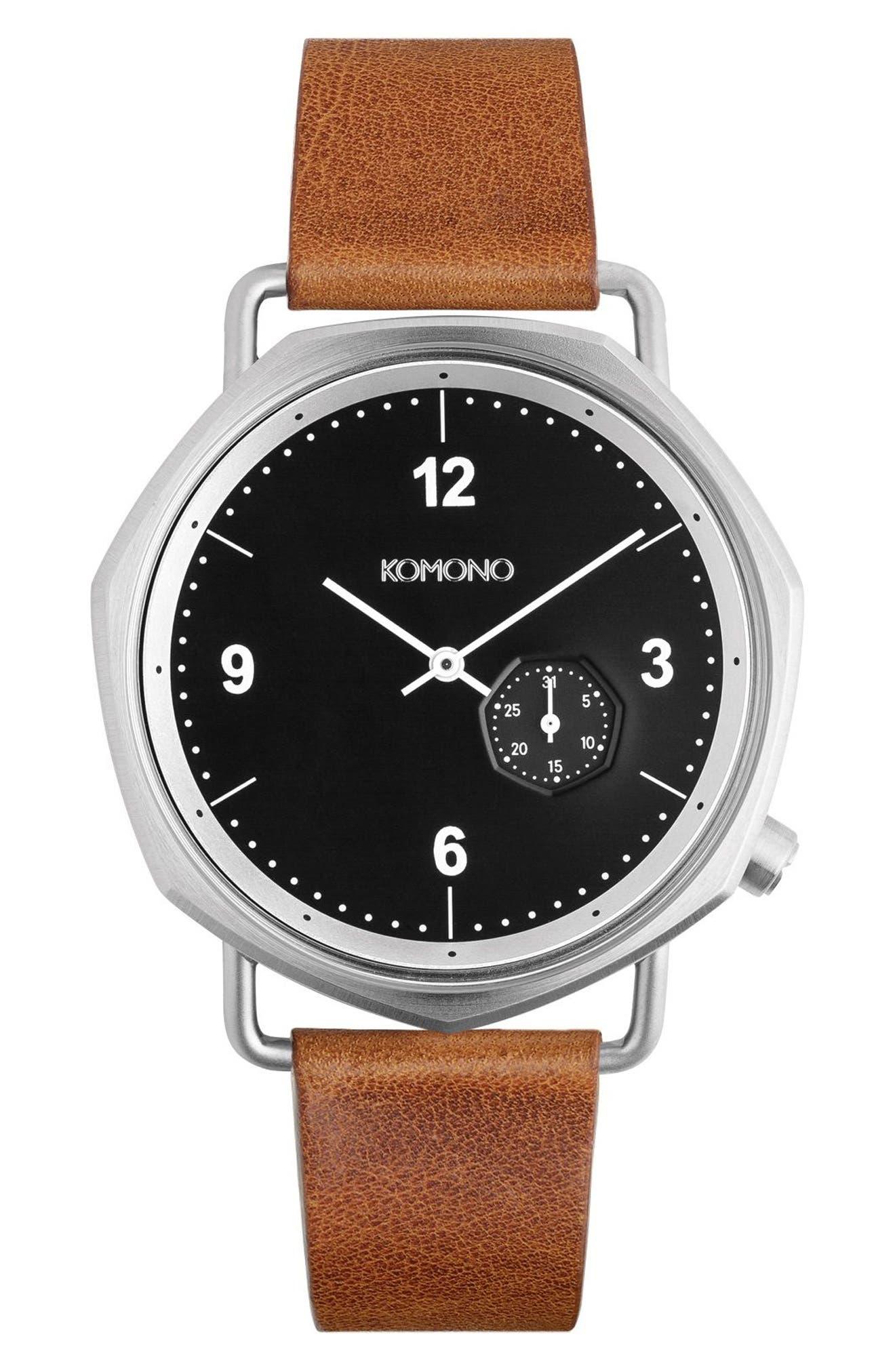Orson Geo Leather Strap Watch, 40mm,                         Main,                         color, Black/ Cognac