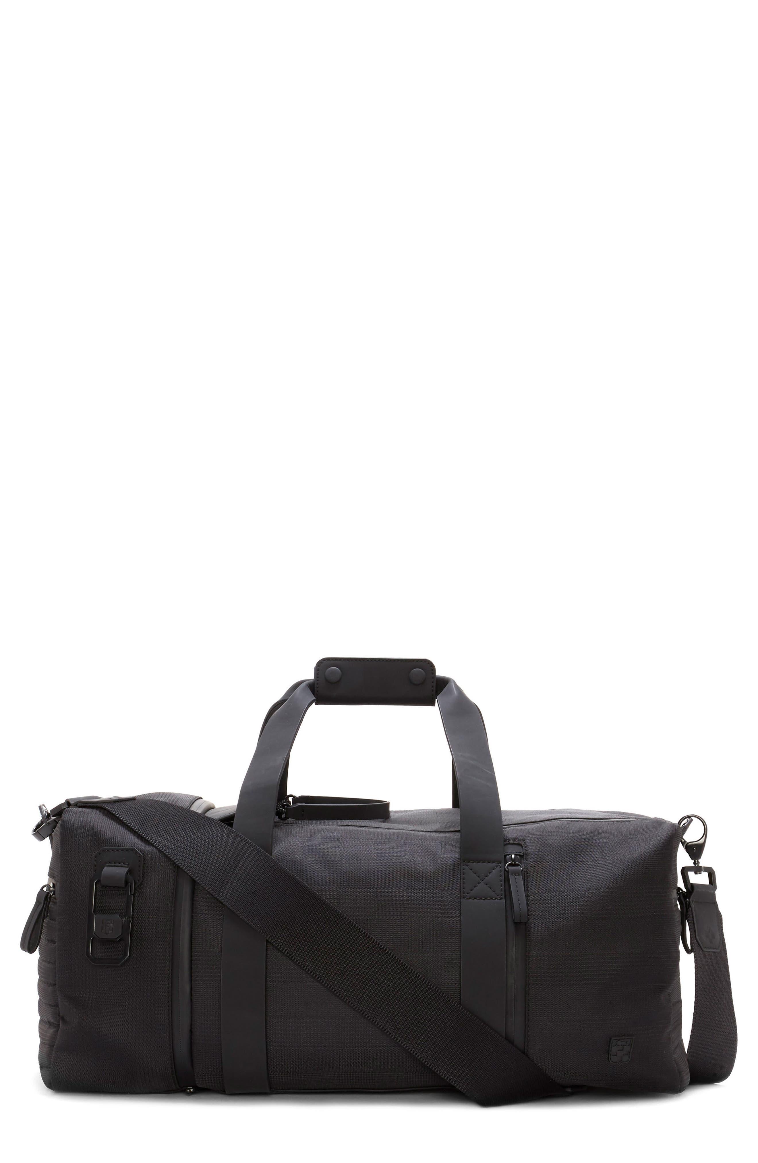 Race Duffel Bag,                         Main,                         color, Black Plaid