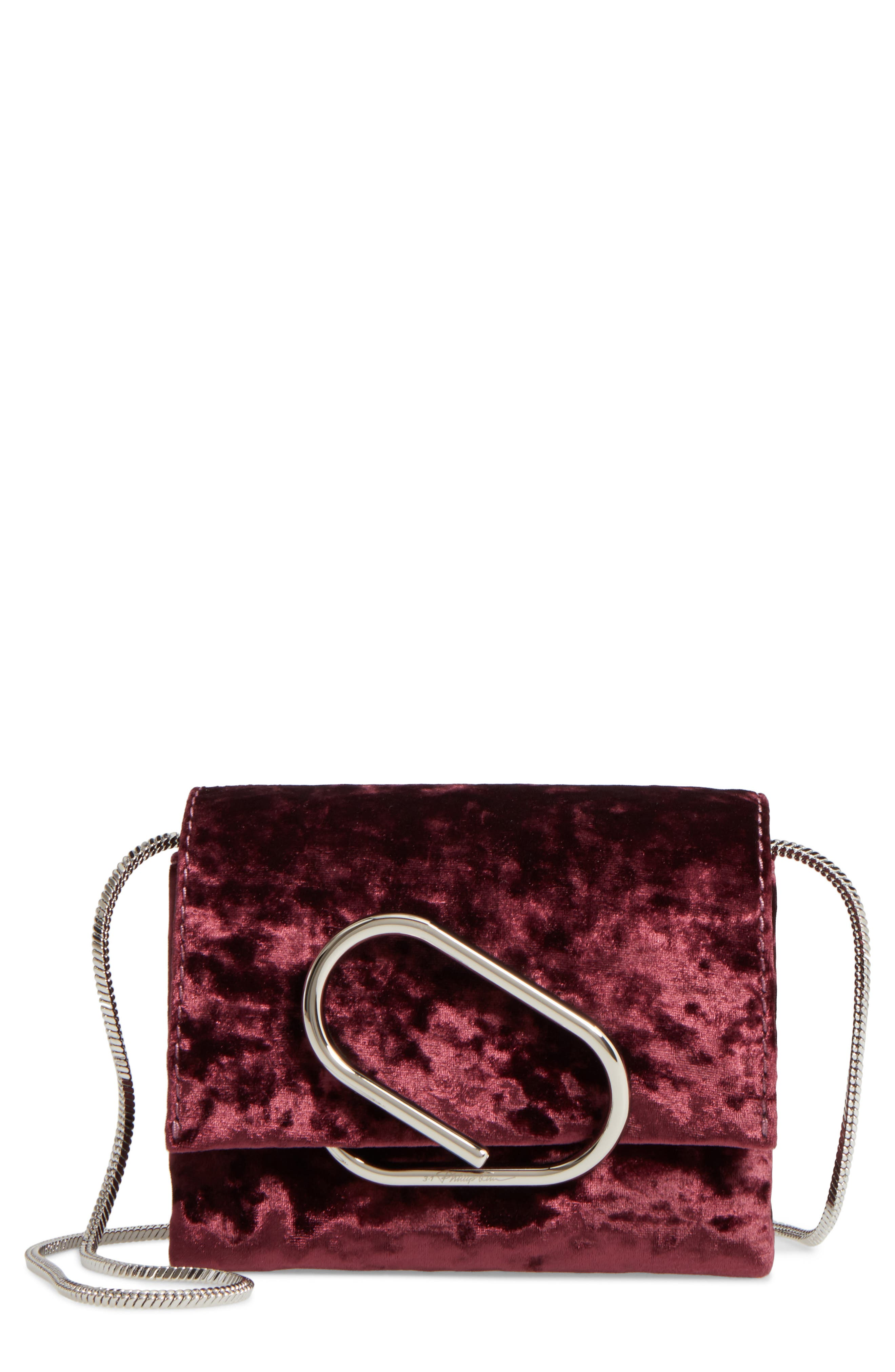 Micro Alix Velvet Crossbody Bag,                         Main,                         color, Syrah