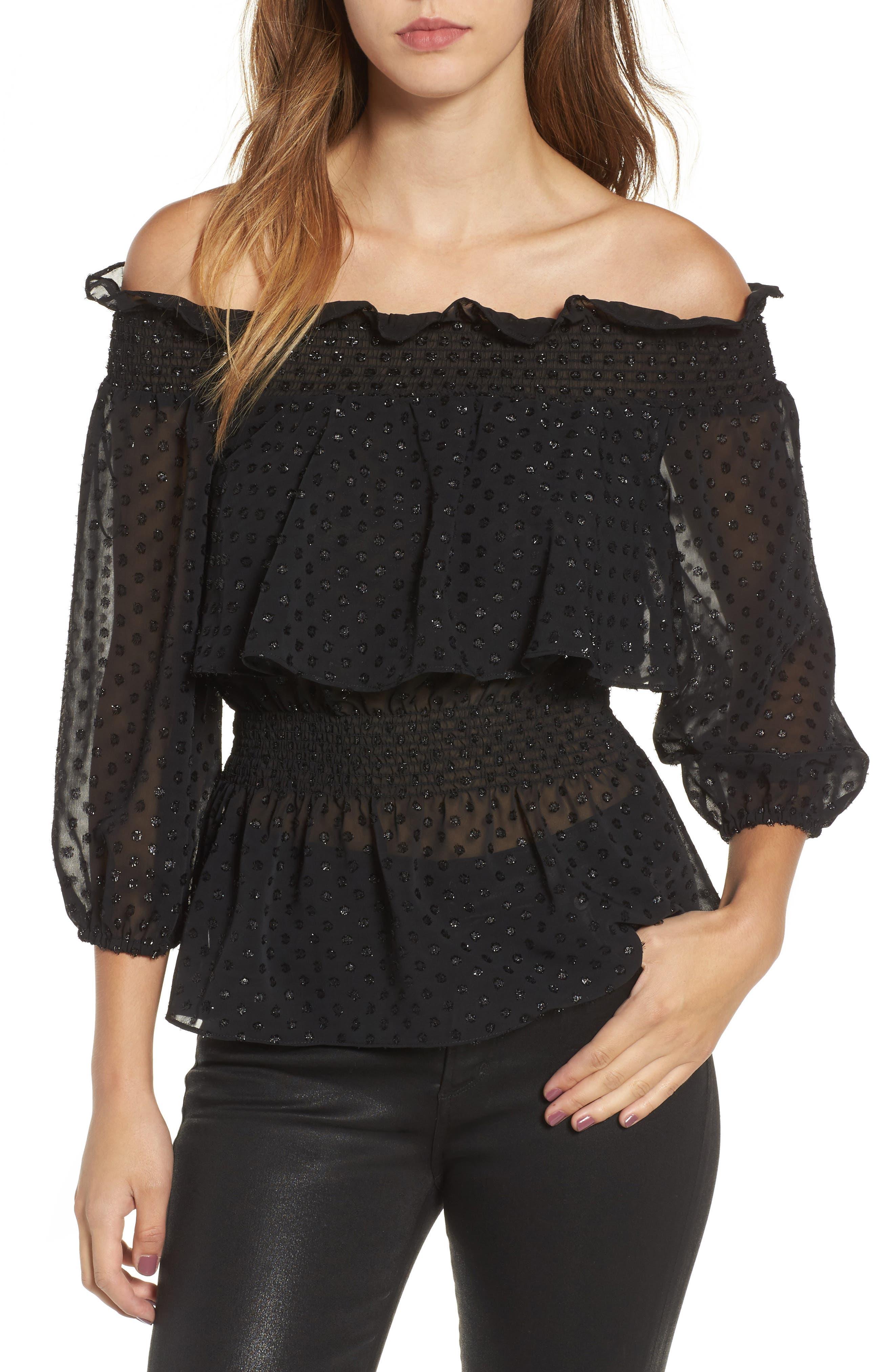 Roland Off the Shoulder Lace Blouse,                         Main,                         color, Black