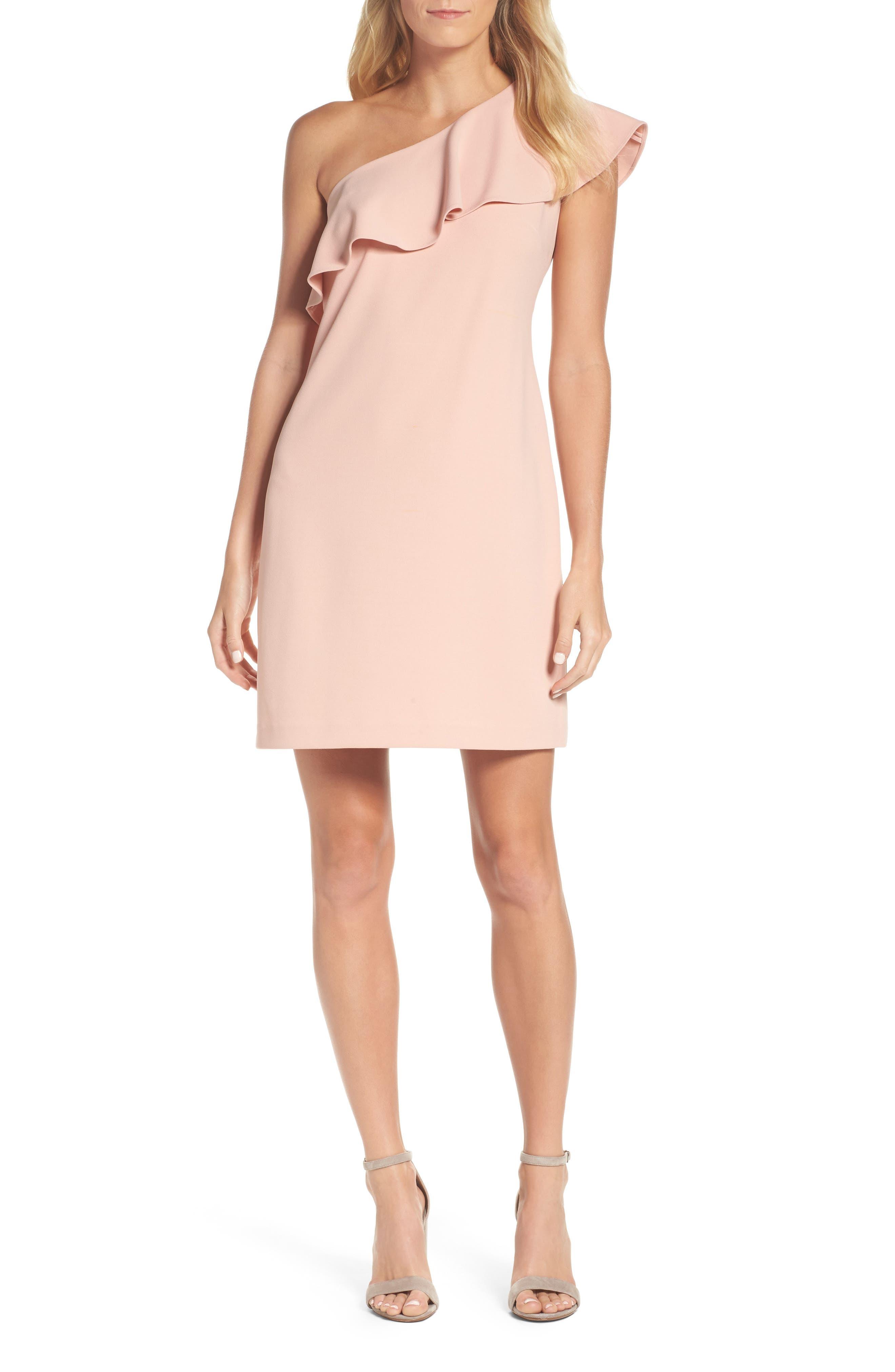 Ruffle One-Shoulder Shift Dress,                         Main,                         color, Pink