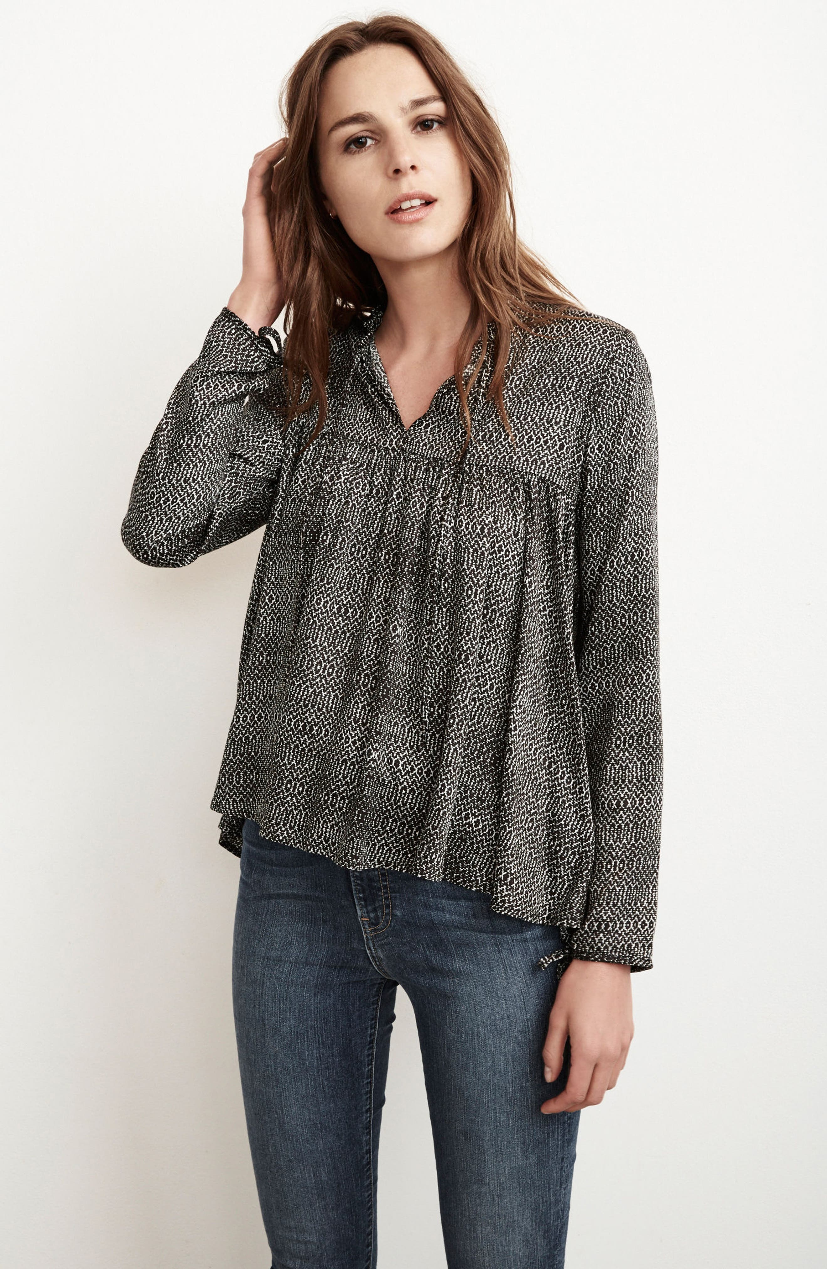 Shirred Woven Print Top,                             Alternate thumbnail 2, color,                             Crackle