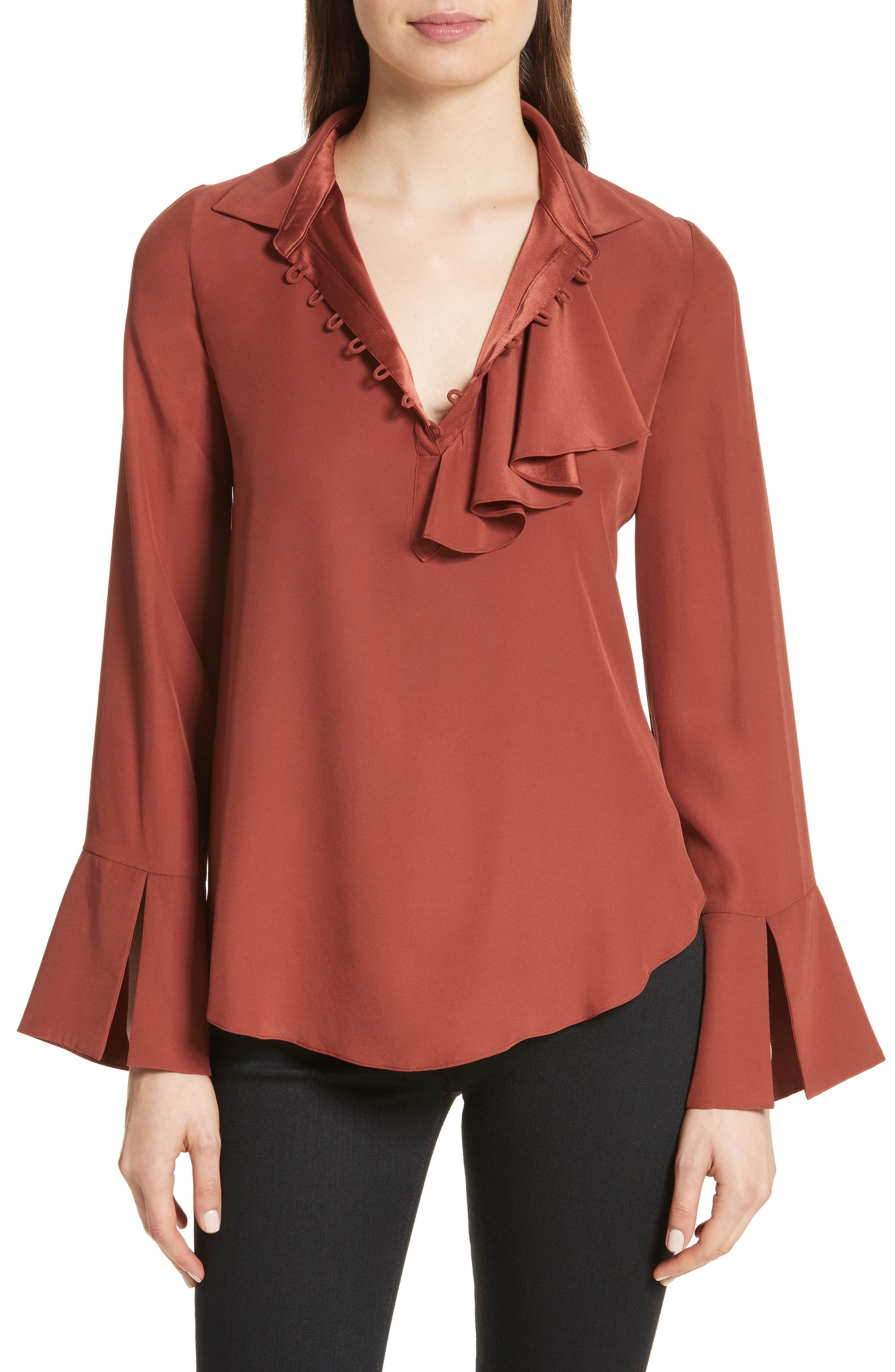 Norla Silk Bow Blouse,                             Main thumbnail 1, color,                             Tobacco
