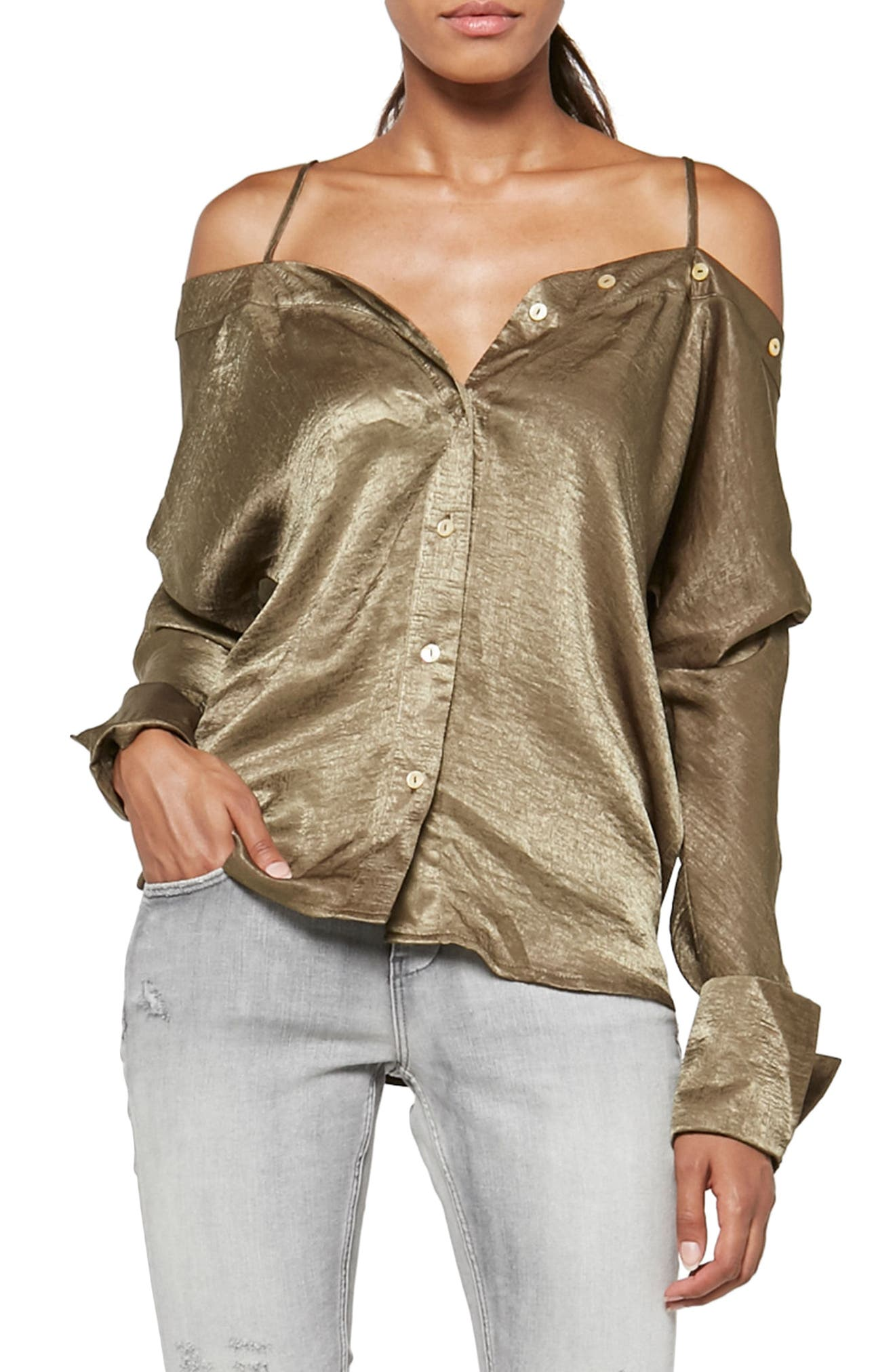 Alpha & Omega Satin Off the Shoulder Blouse,                             Main thumbnail 1, color,                             Olive
