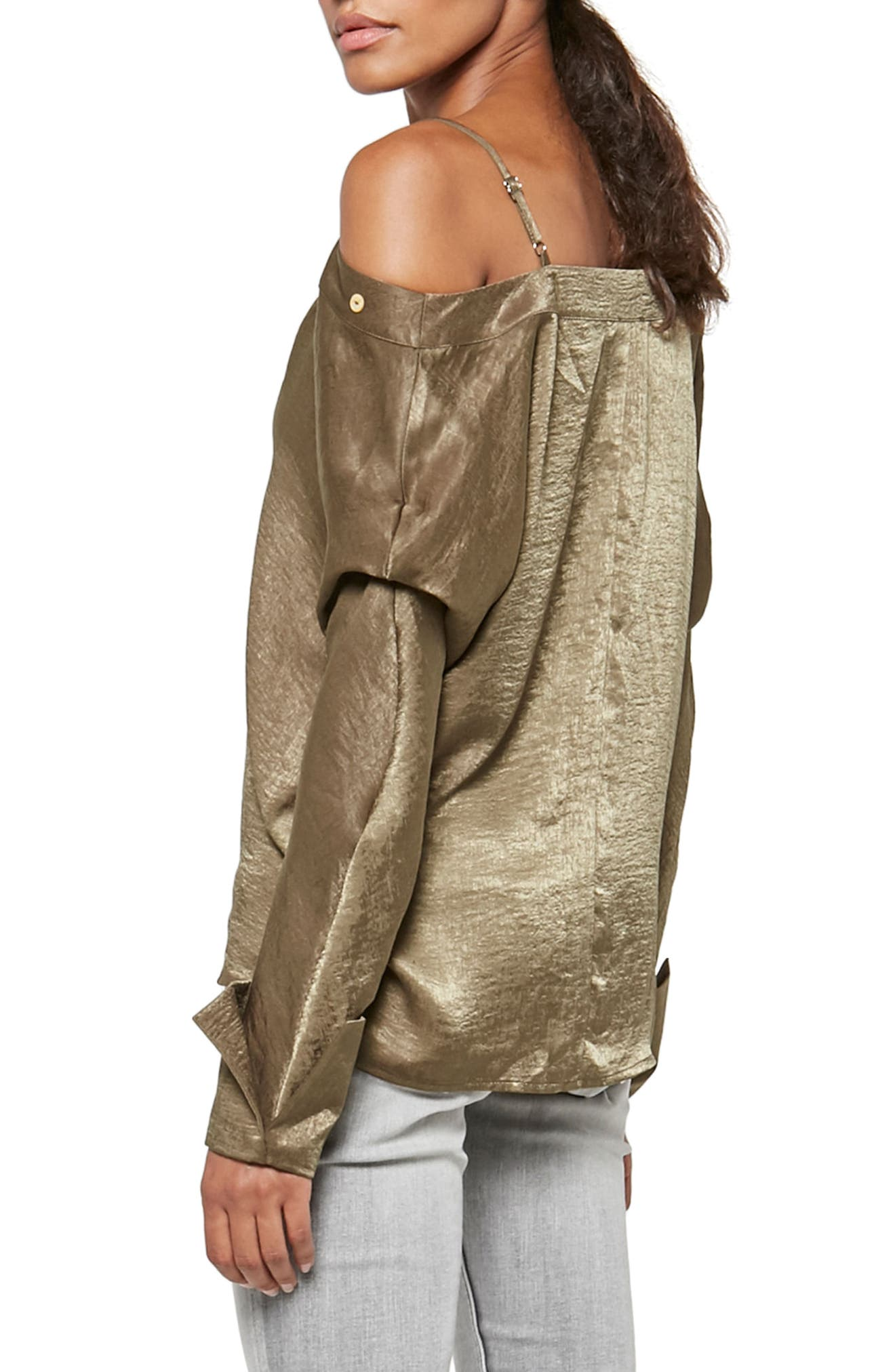 Alpha & Omega Satin Off the Shoulder Blouse,                             Alternate thumbnail 2, color,                             Olive