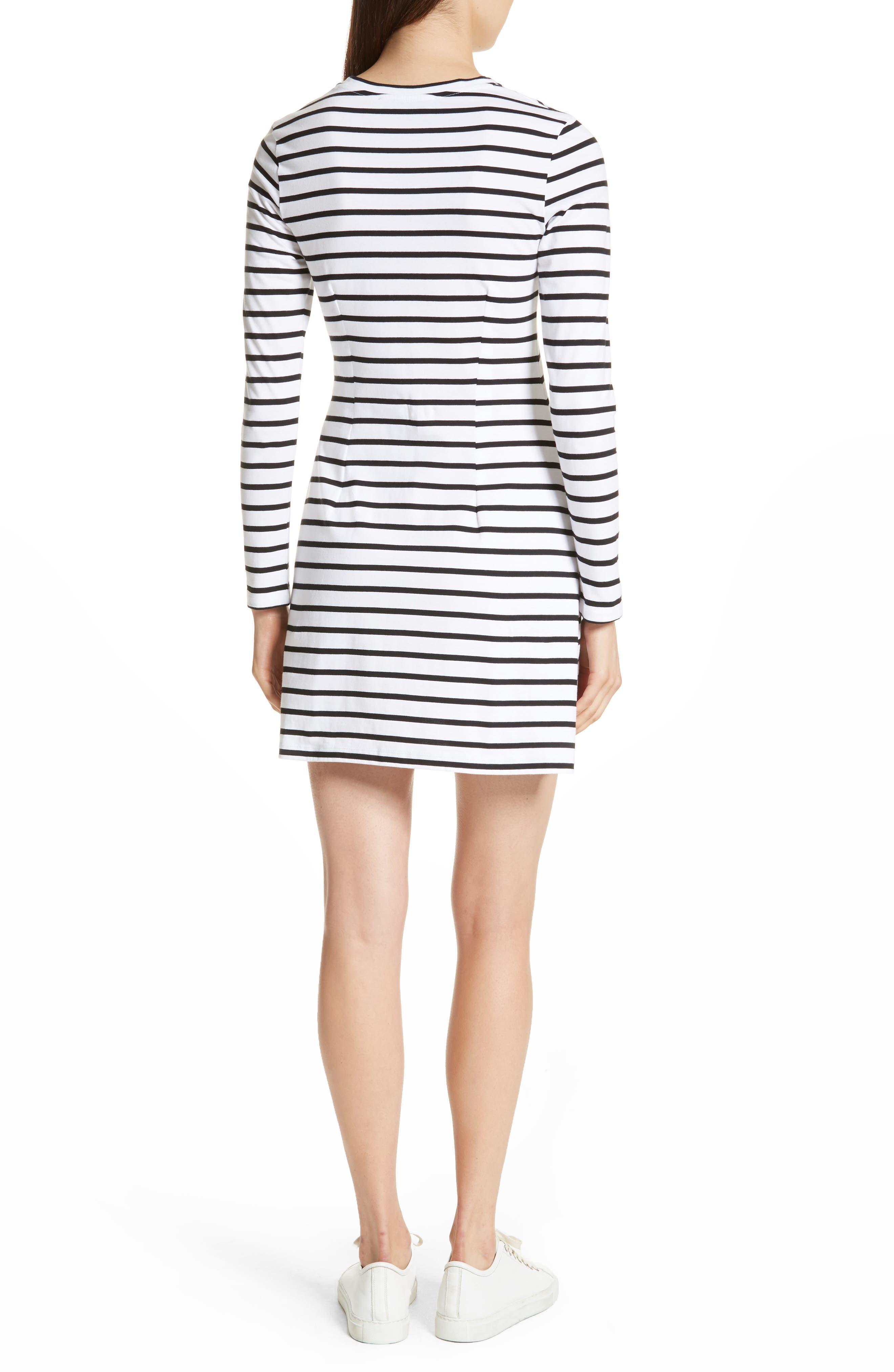 être cécile Scribble Dog Stripe T-Shirt Dress,                             Alternate thumbnail 3, color,                             Black Breton Stripe