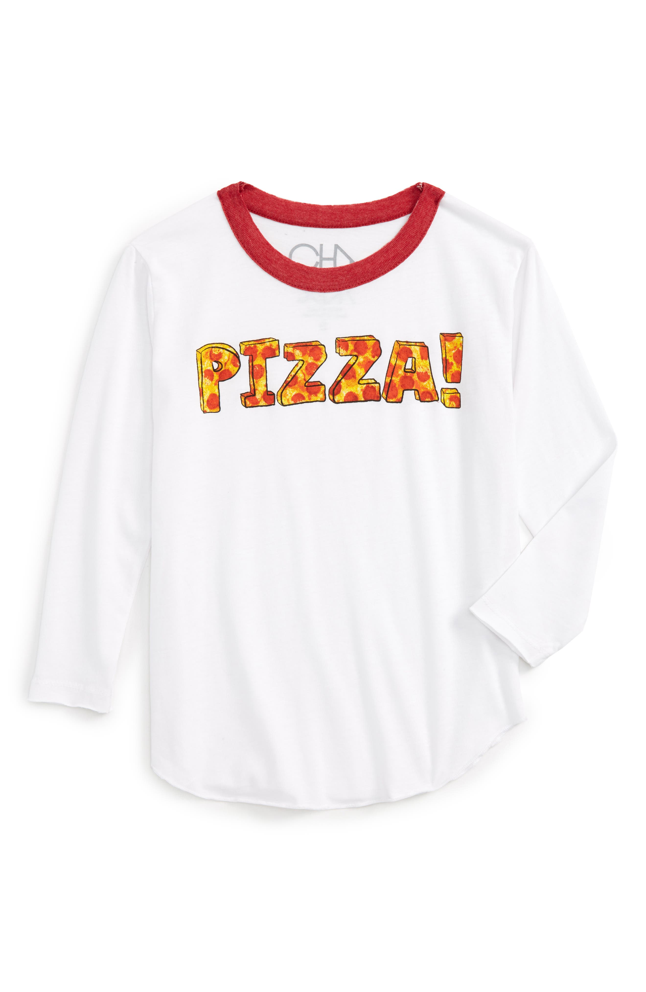 Pizza Time Graphic Tee,                             Main thumbnail 1, color,                             White/ Cardinal