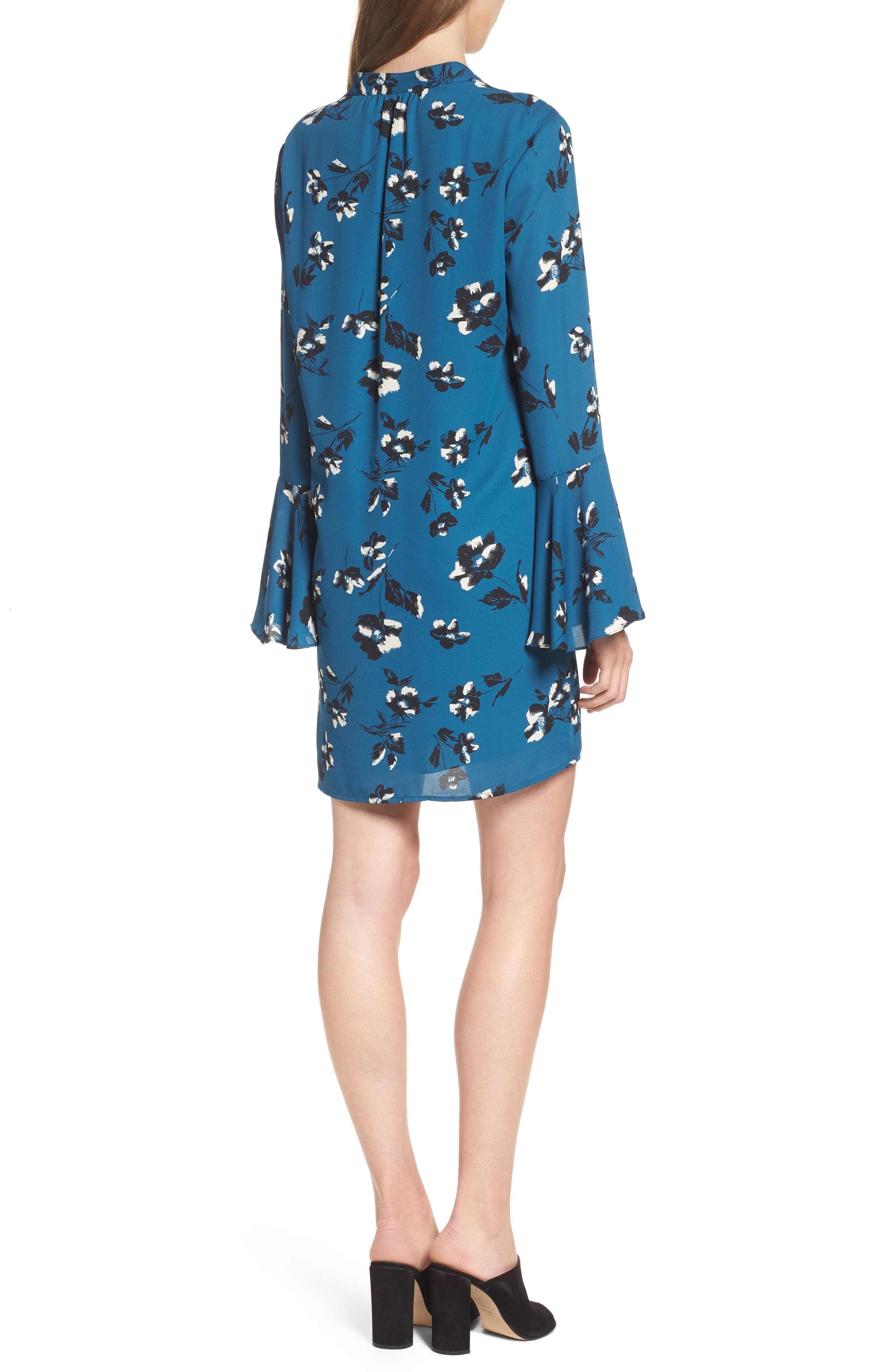 Bell Sleeve Shirtdress,                             Alternate thumbnail 2, color,                             Teal Floral